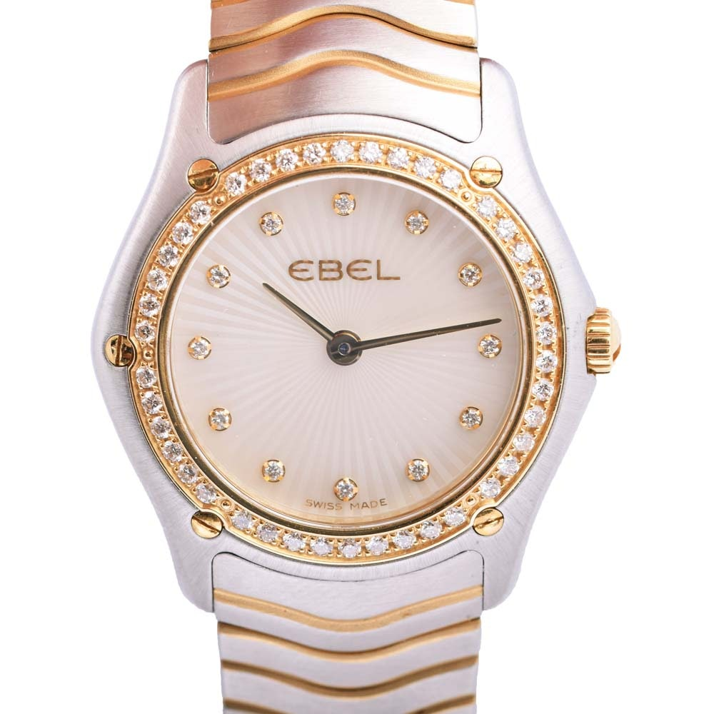 Ebel Stainless Steel and Gold Plated Diamond Wristwatch