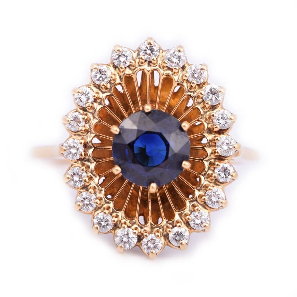 18K Yellow Gold 1.45 CTW Sapphire and Diamond Ring