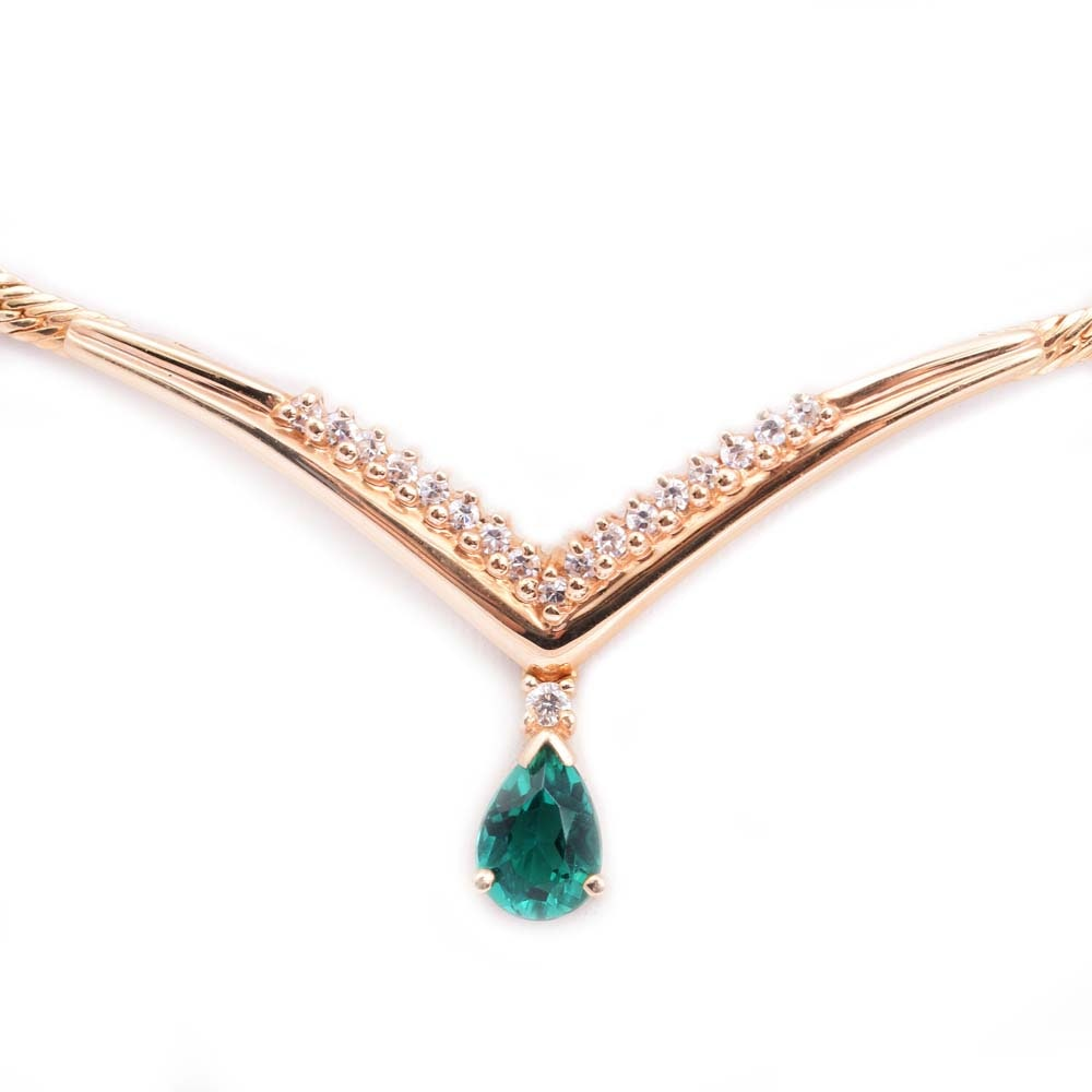 14K Yellow Gold Created Emerald and Diamond Pendant Necklace