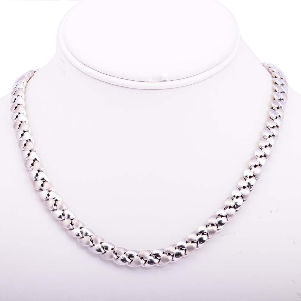 14K White Gold Polished and Satin Heart Link Necklace
