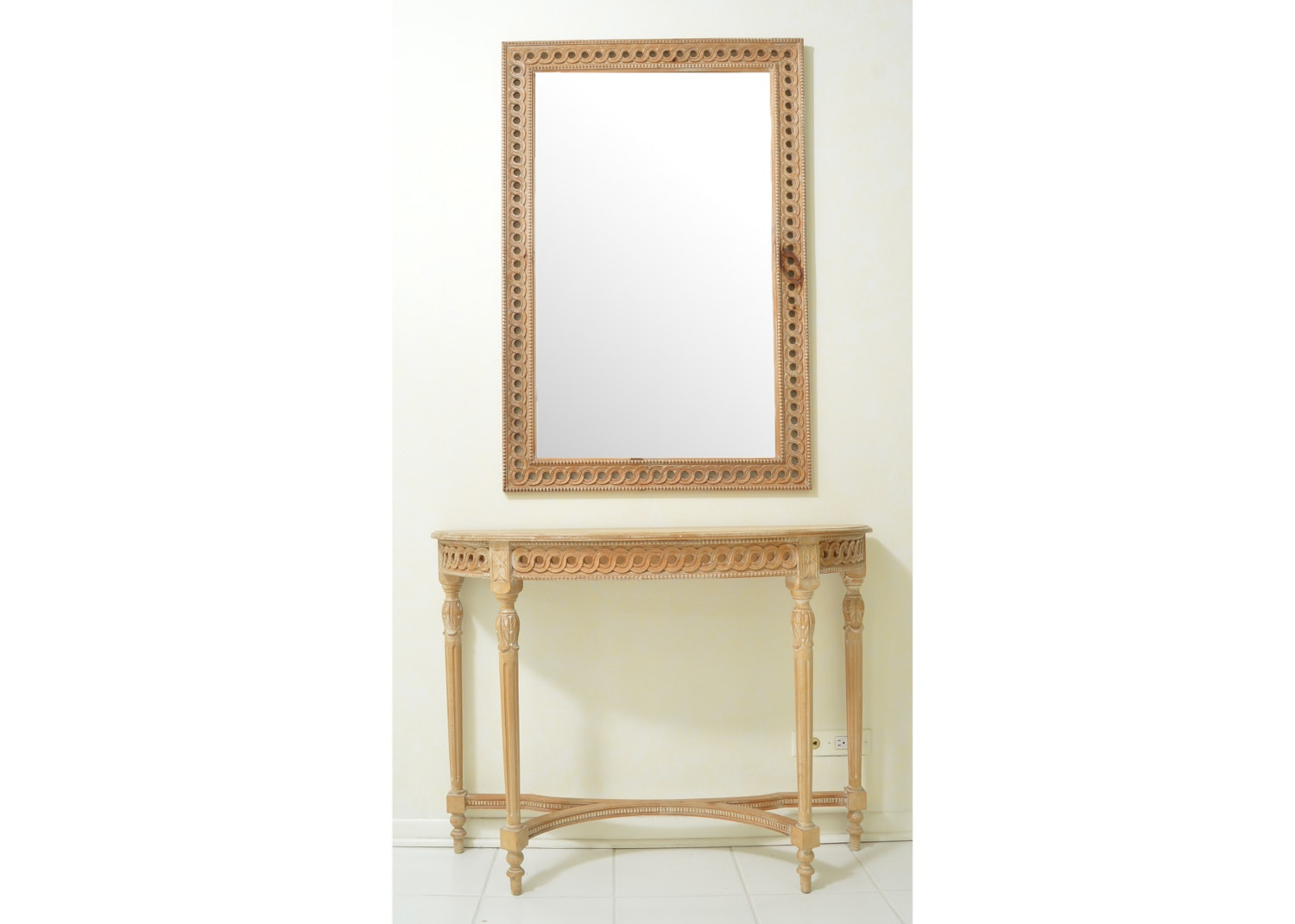Carved Demilune Console Table and Wall Mirror