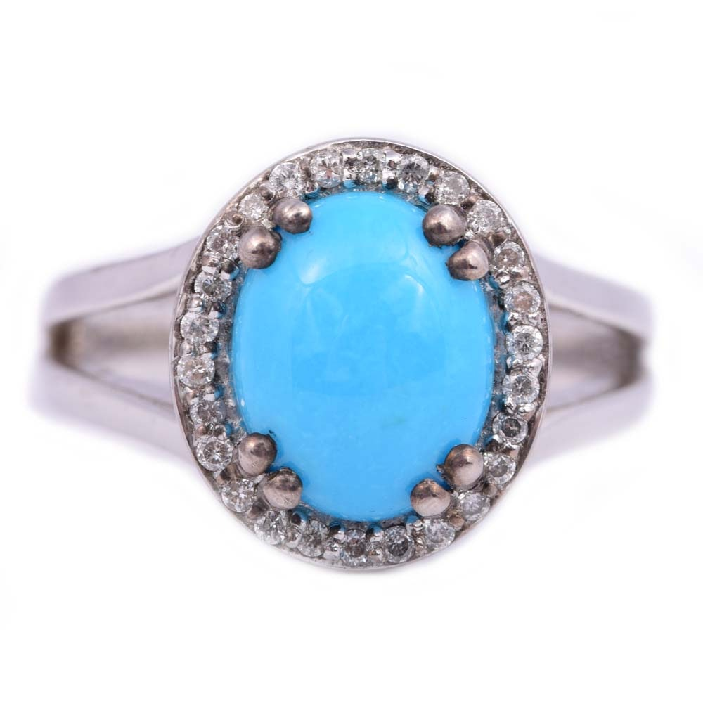 Sterling Silver and Platinum Alloy Turquoise and Diamond Ring
