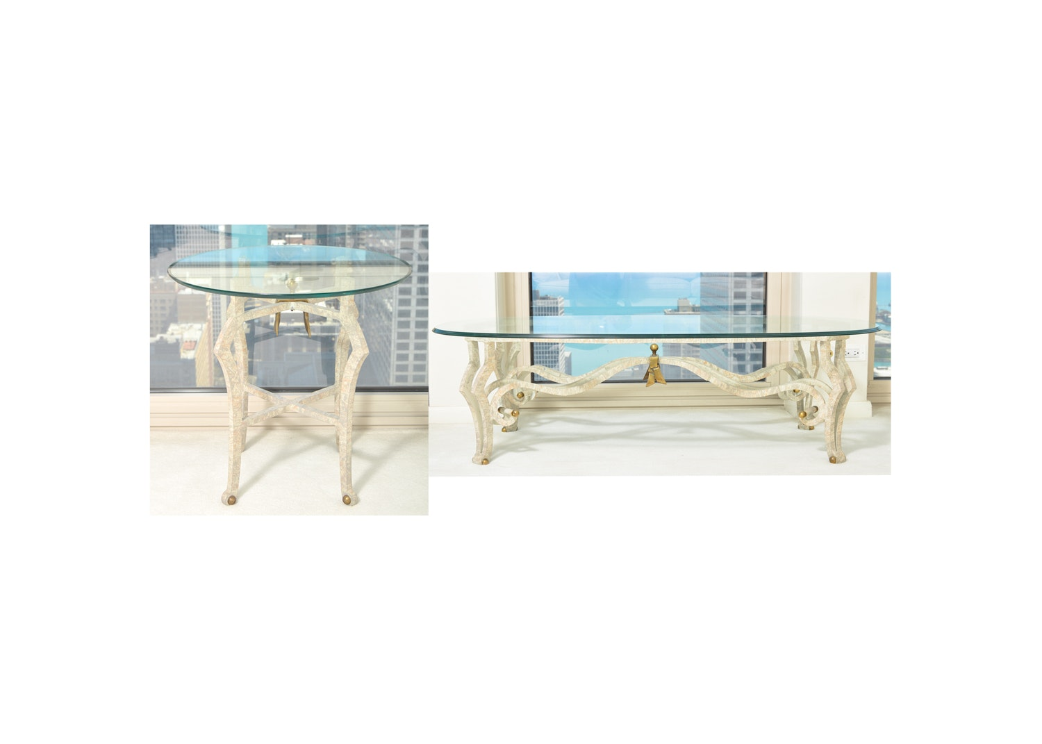 Glass Top Metal Coffee Table with Matching Side Table