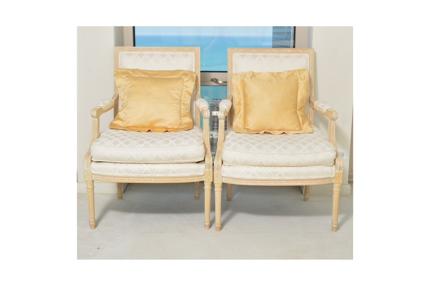 Louis XVI Style Upholstered Armchairs by Sherrill