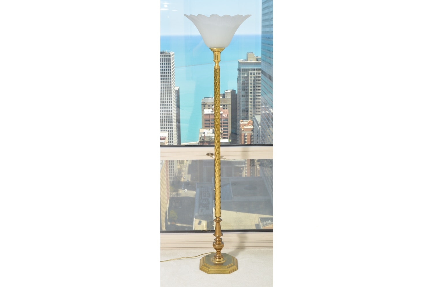 Brass Torchiere Touch Floor Lamp