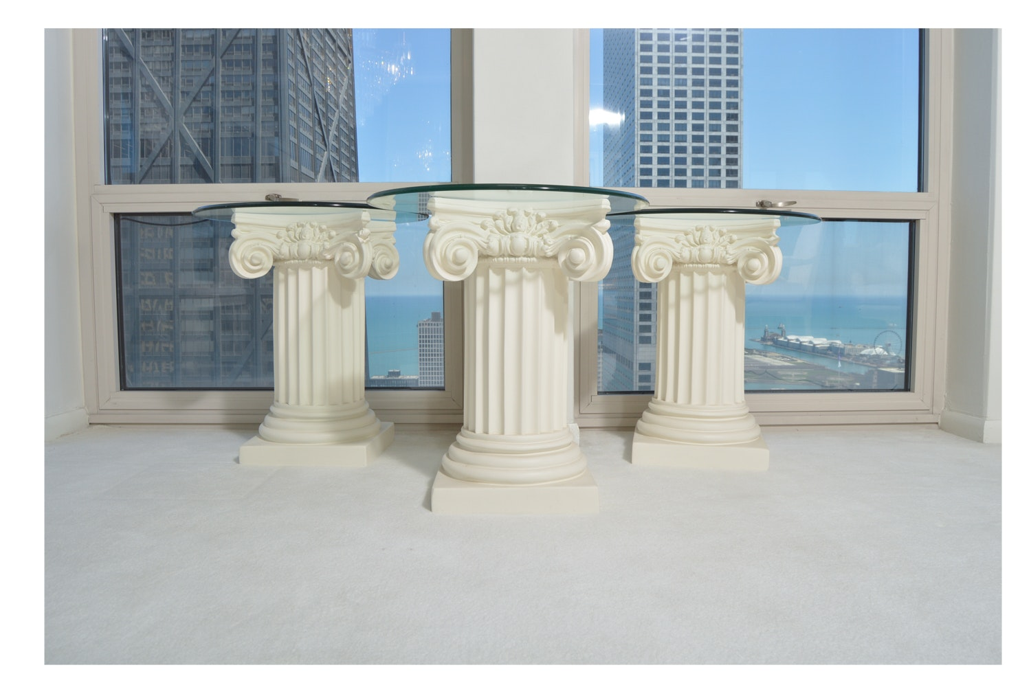 Neoclassical Style Glass Top Pedestal Accent Tables