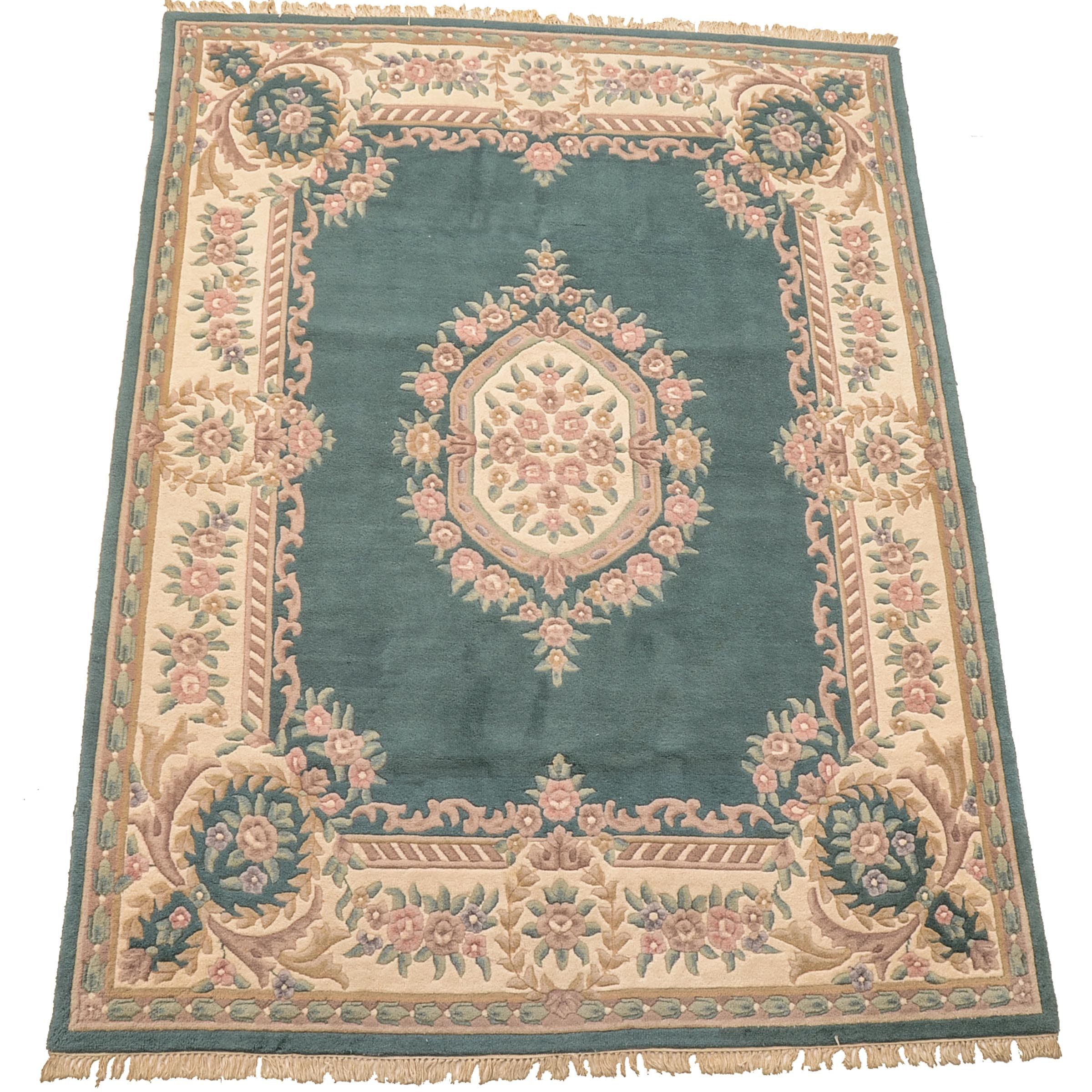 Hand-Knotted Aubusson Style Area Rug