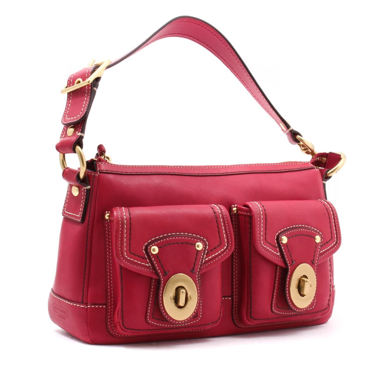 Coach Raspberry Leather F12868 Turn-Lock Pocket Shoulder Bag