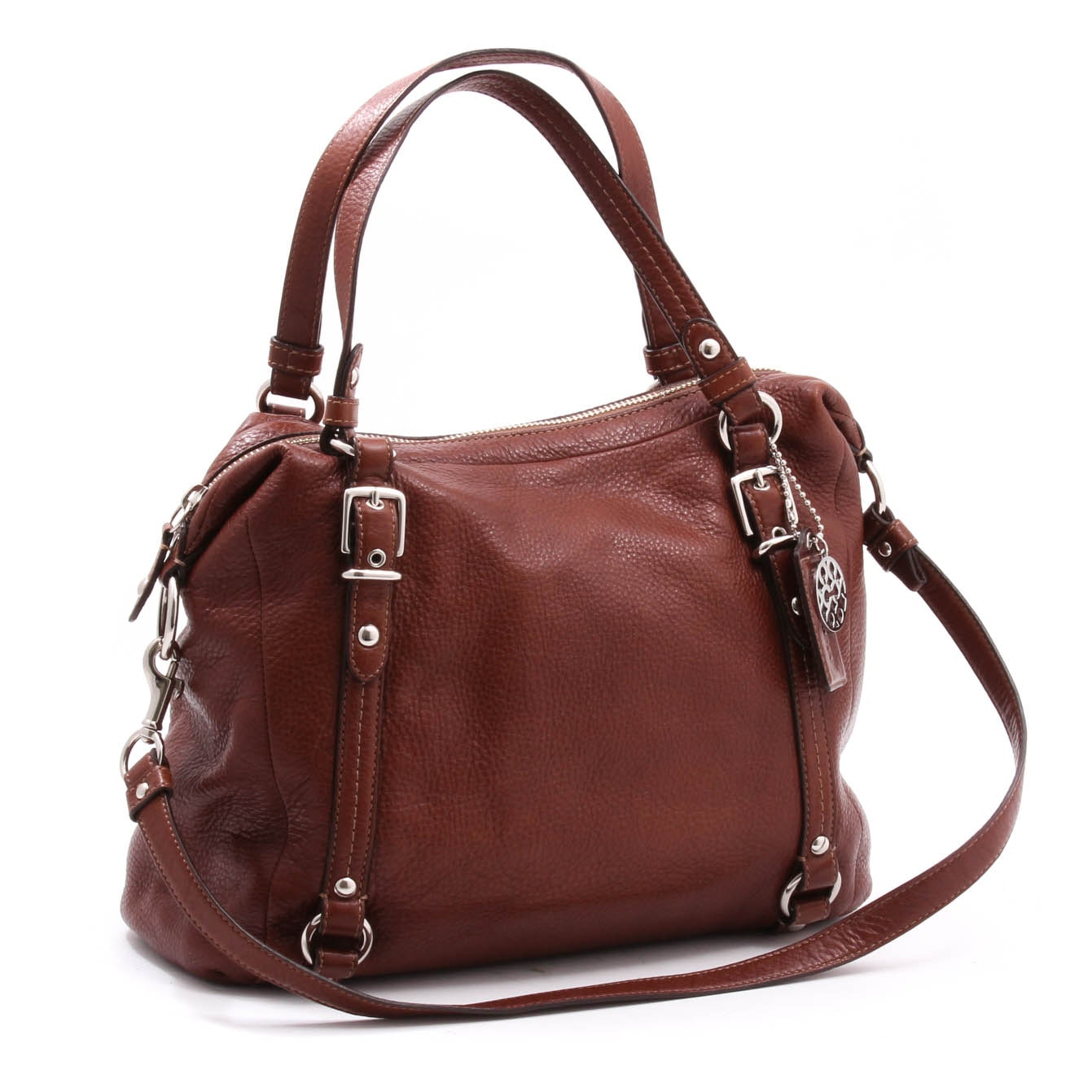 Coach Brown Pebble Leather Alexandra Shoulder Bag