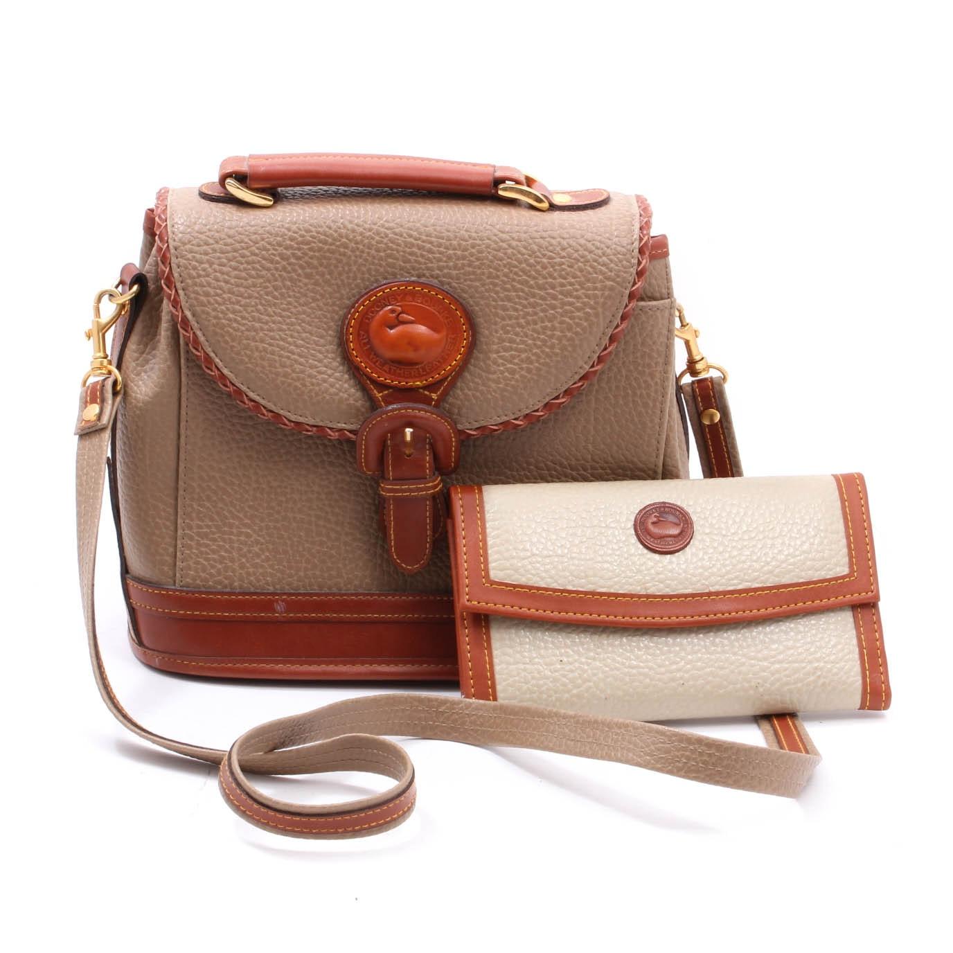 Dooney & Bourke Tan All-Weather Leather Saddle Handbag and Wallet