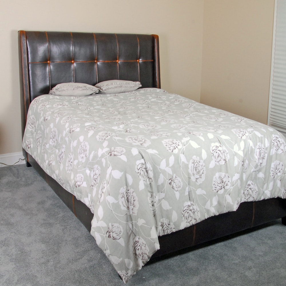 Faux Leather Upholstered Queen Size Bed Frame