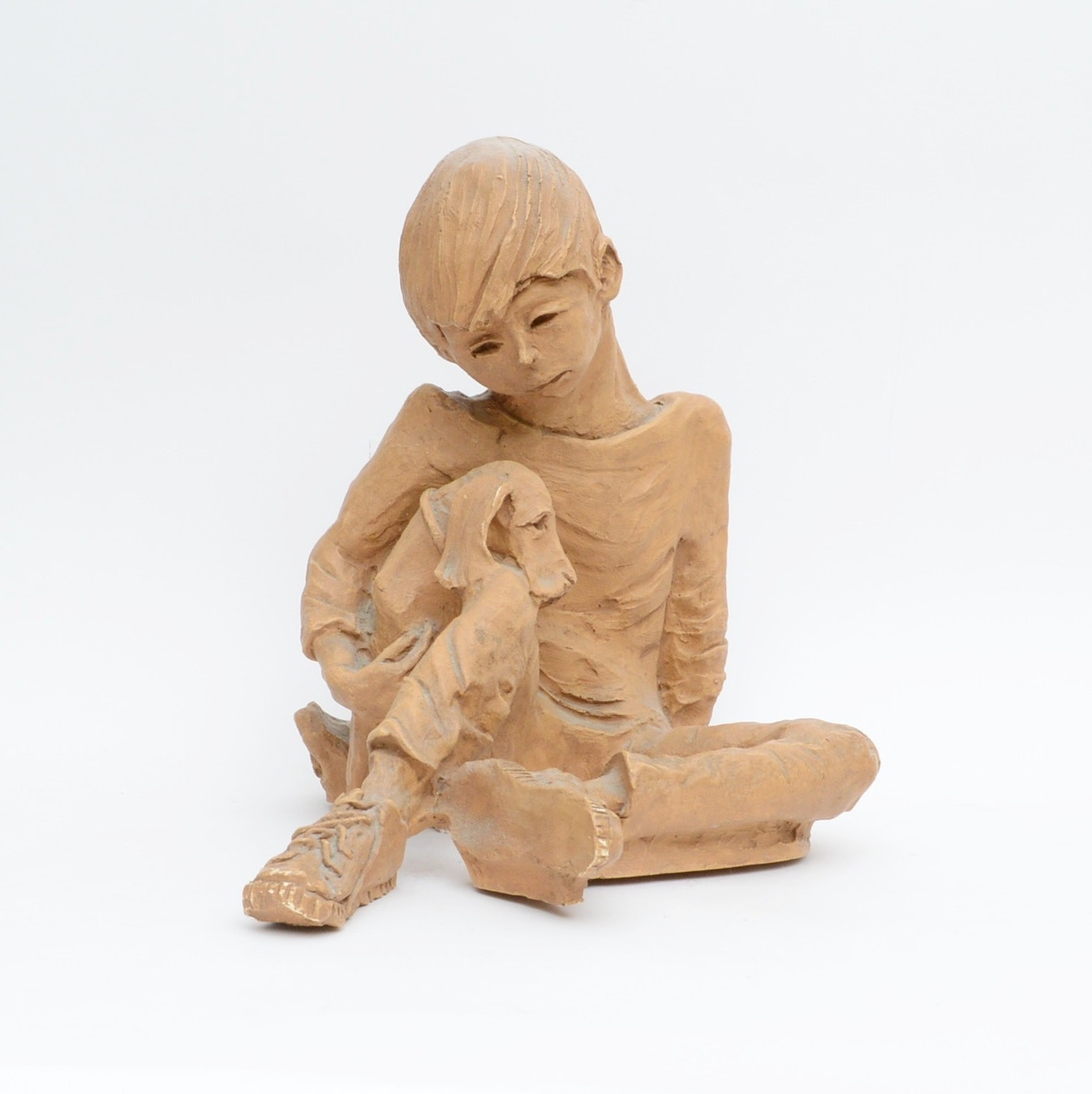 Plaster Sculpture of Young Boy with Puppy