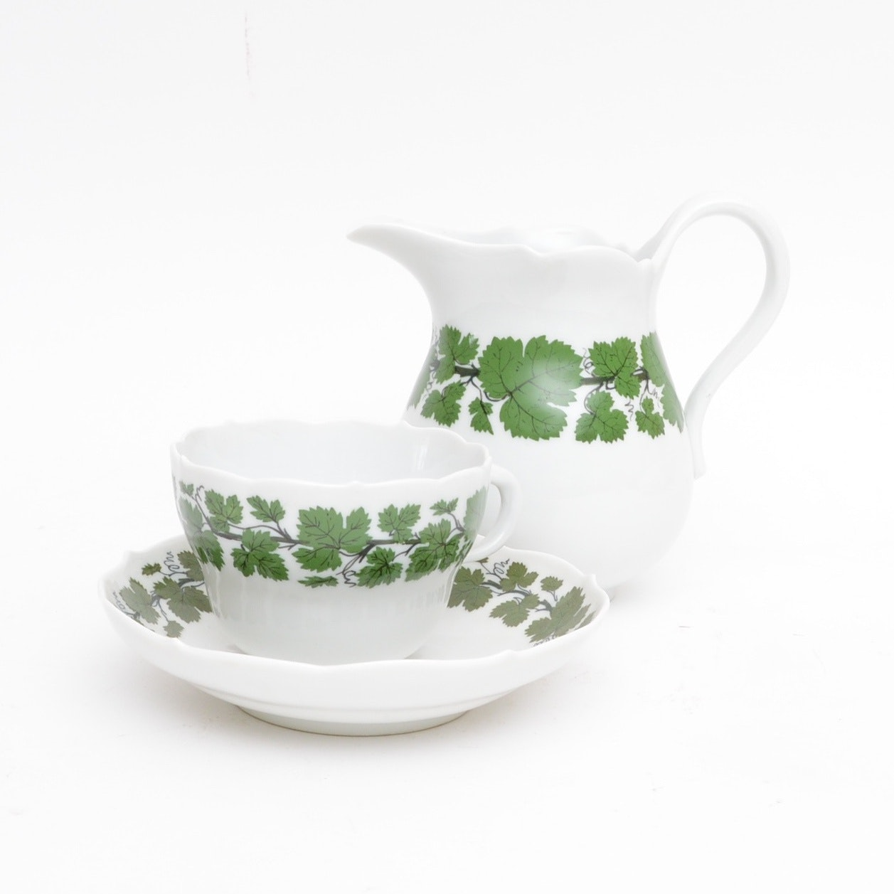 "Meissen ""Green Vine"" Creamer with Cup and Saucer"