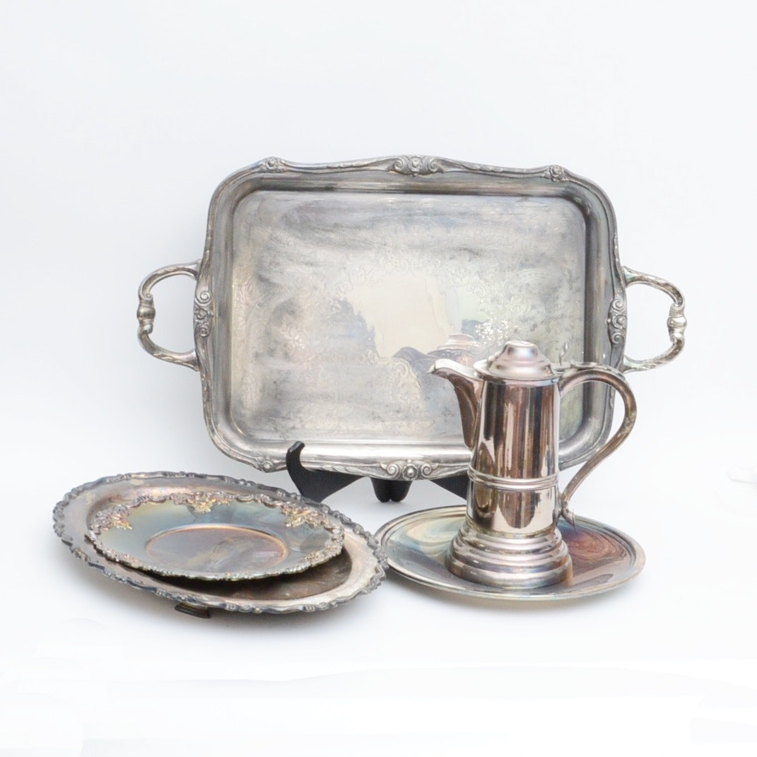 Vintage Silver Plated Serveware with Wallace, Rogers, Reed & Barton