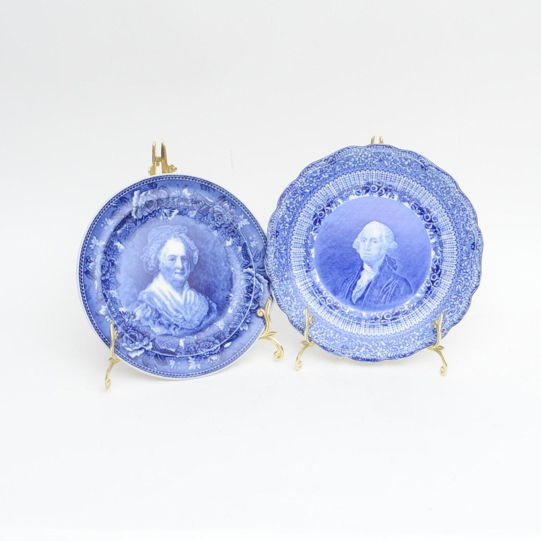Ridgways and Wedgwood Blue Transferware Historic Plates