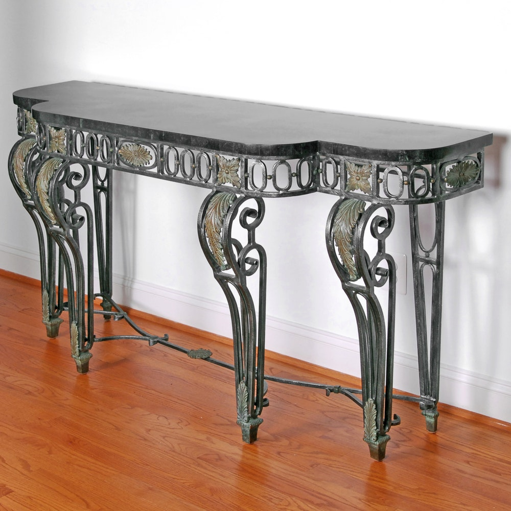 Neoclassical Style Marble Top Metal Console Table by Maitland-Smith