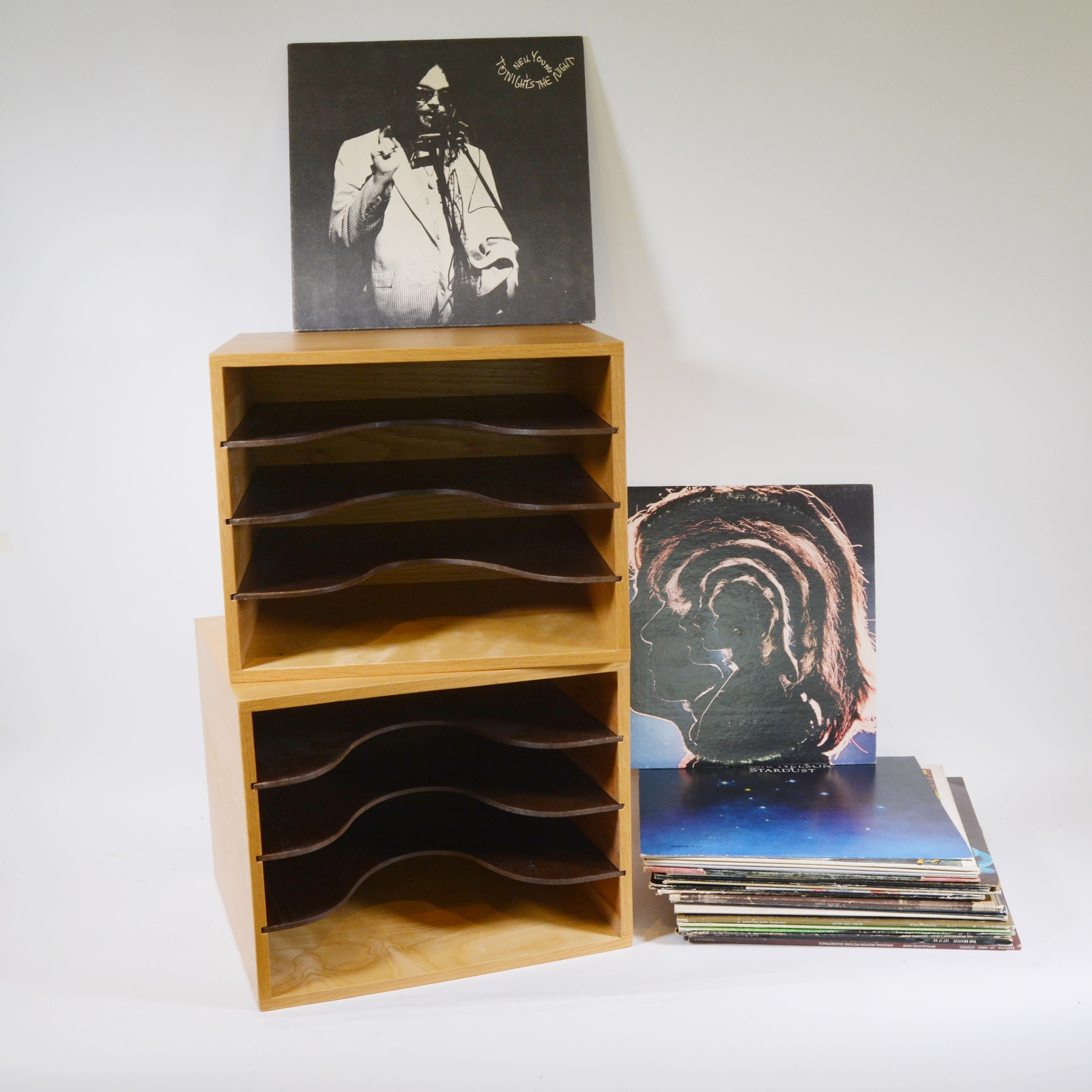 1970-80s Rock Albums and Wood Storage Units