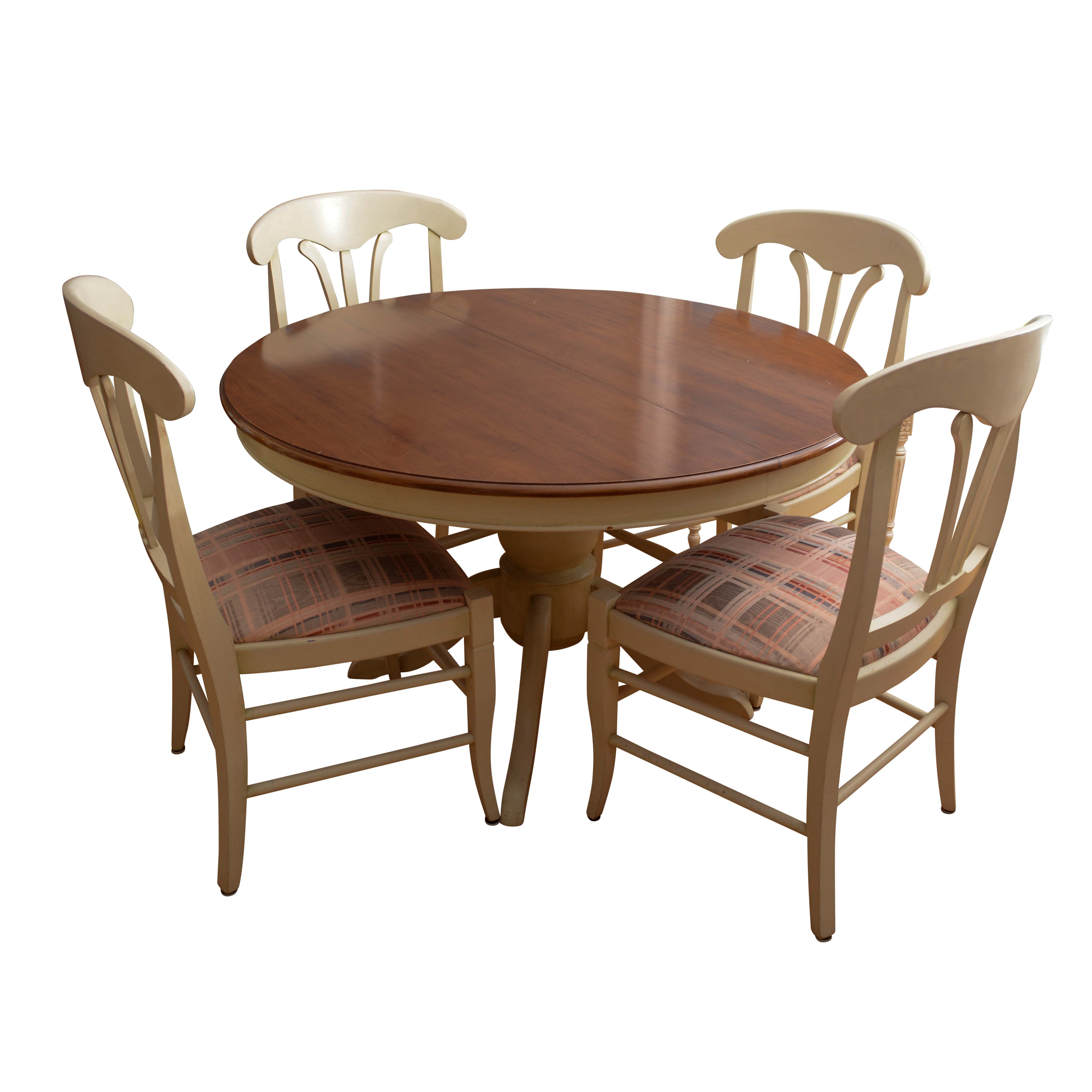 Farmhouse Style Pedestal Dining Table with Chairs by Buying & Design