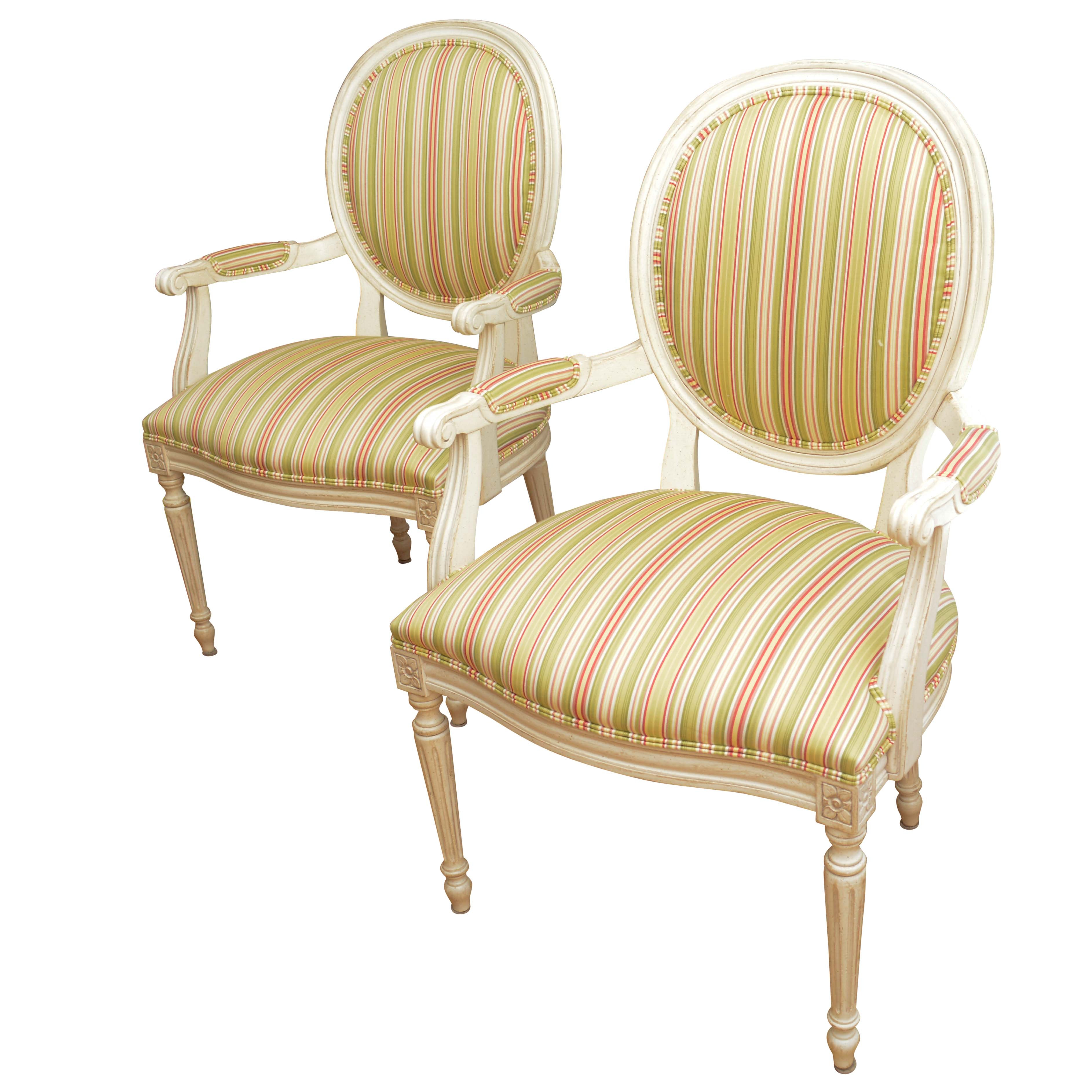 Pair of French Style Armchairs by Ethan Allen