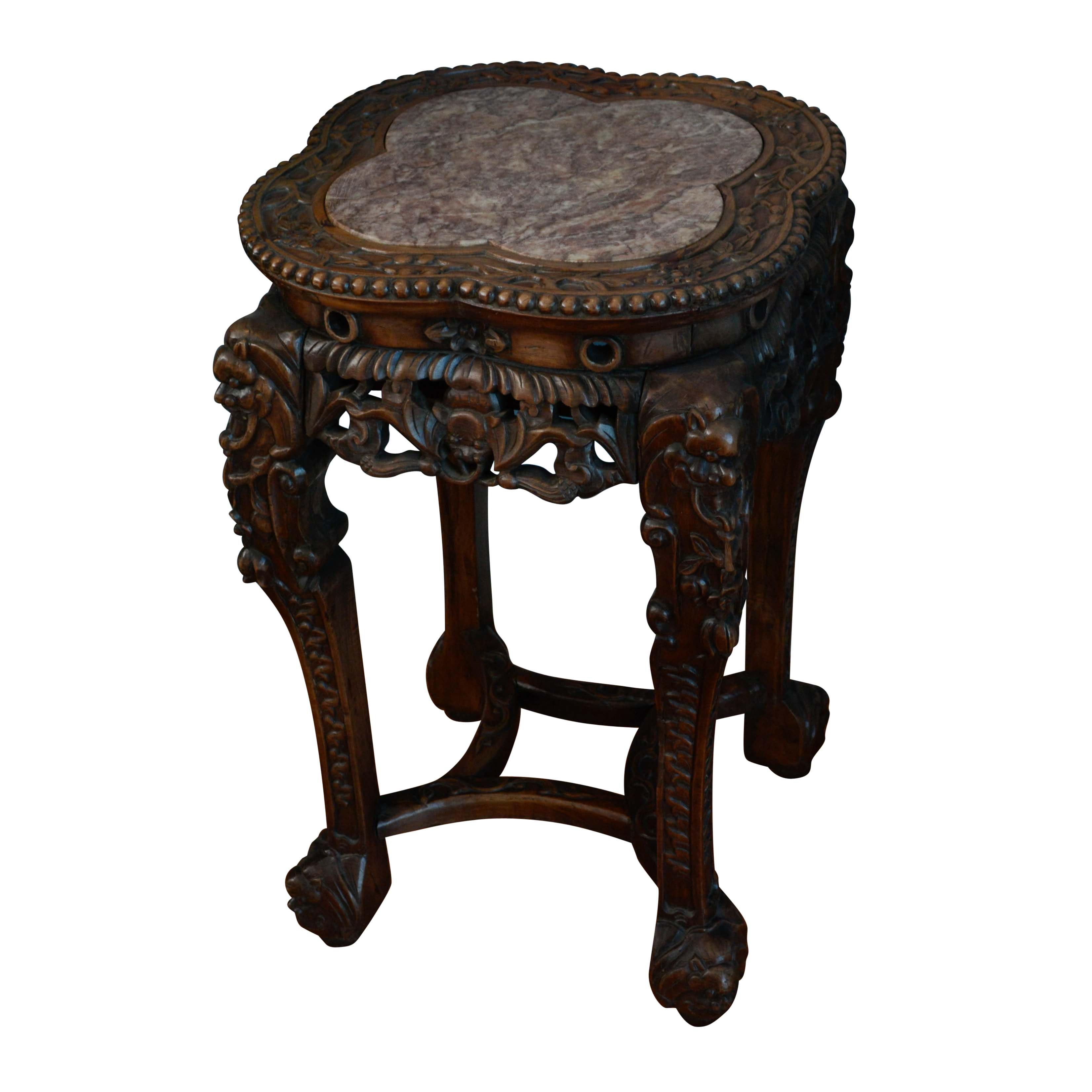 Ornate Carved Quatrefoil Marble Top Accent Table