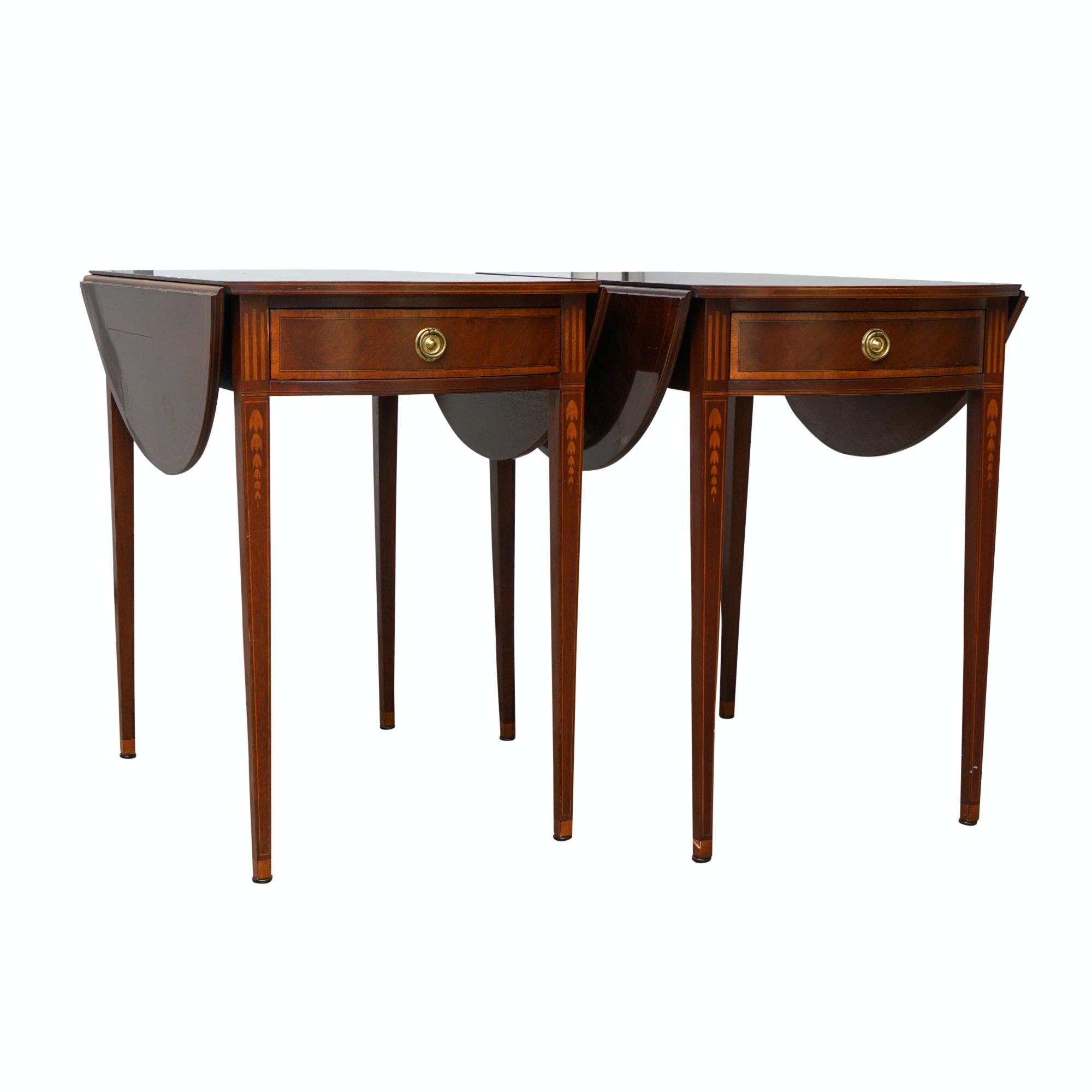 Pair Of Vintage Hepplewhite Style Mahogany Drop Leaf Side Tables By Baker  ...
