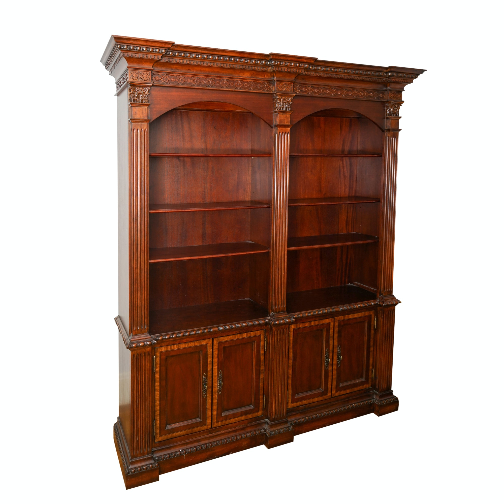 Contemporary Neoclassical Style Mahogany-Finished Bookcase