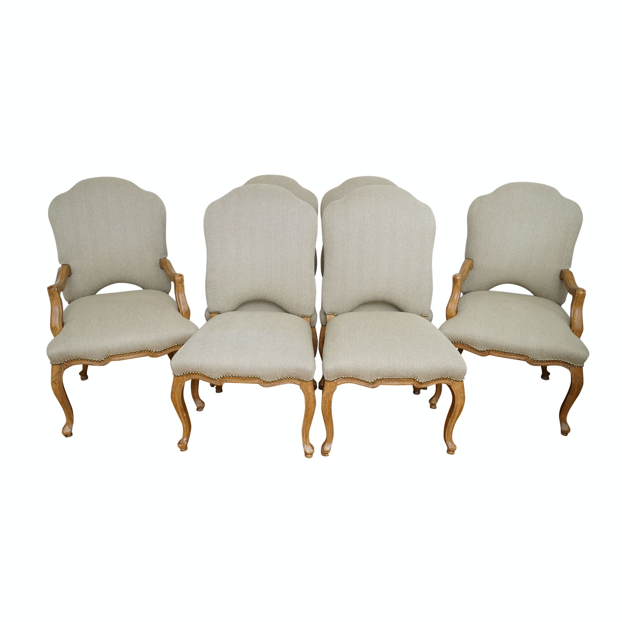 French Provincial Style Herringbone Upholstered Dining Chairs