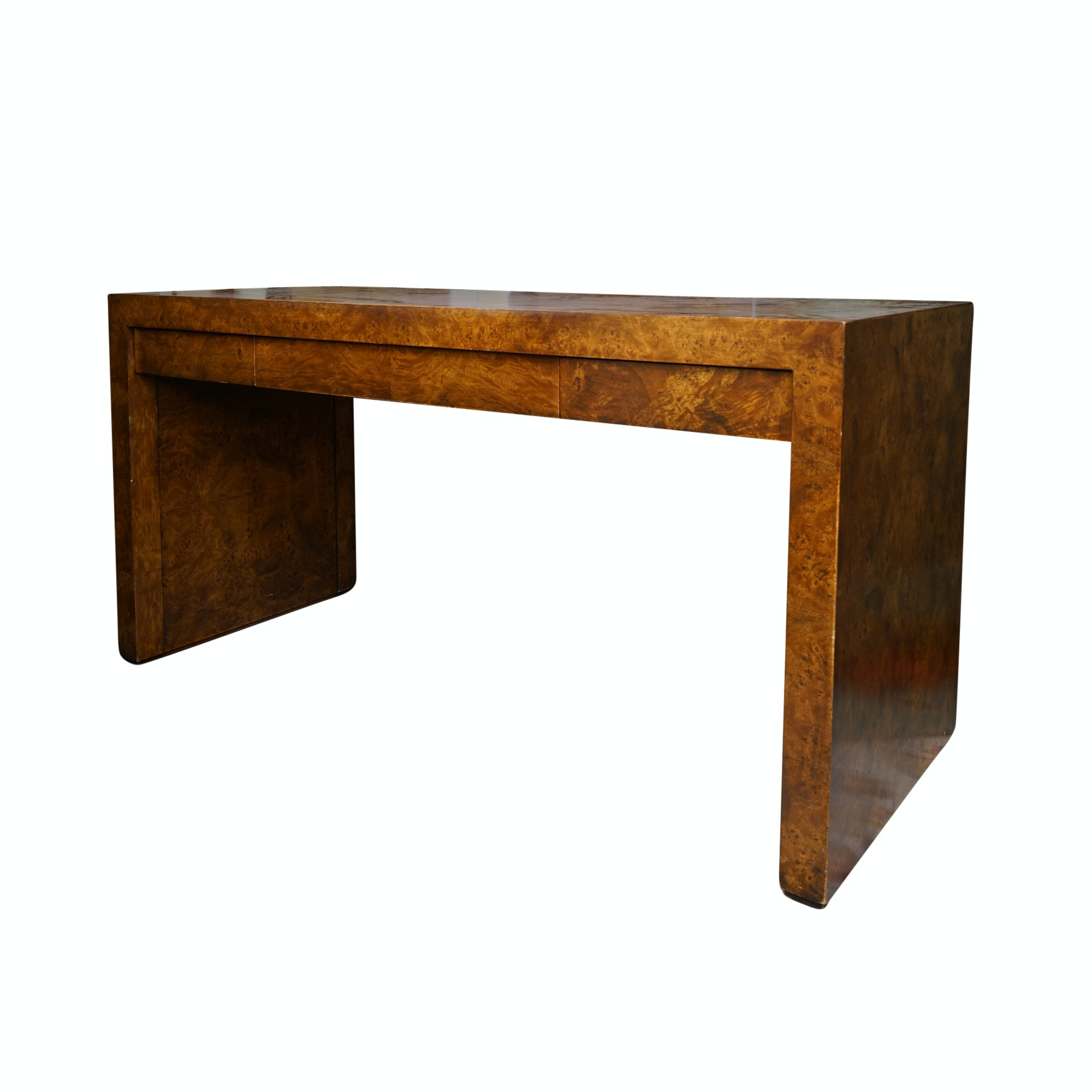 Contemporary Burlwood Veneer Desk
