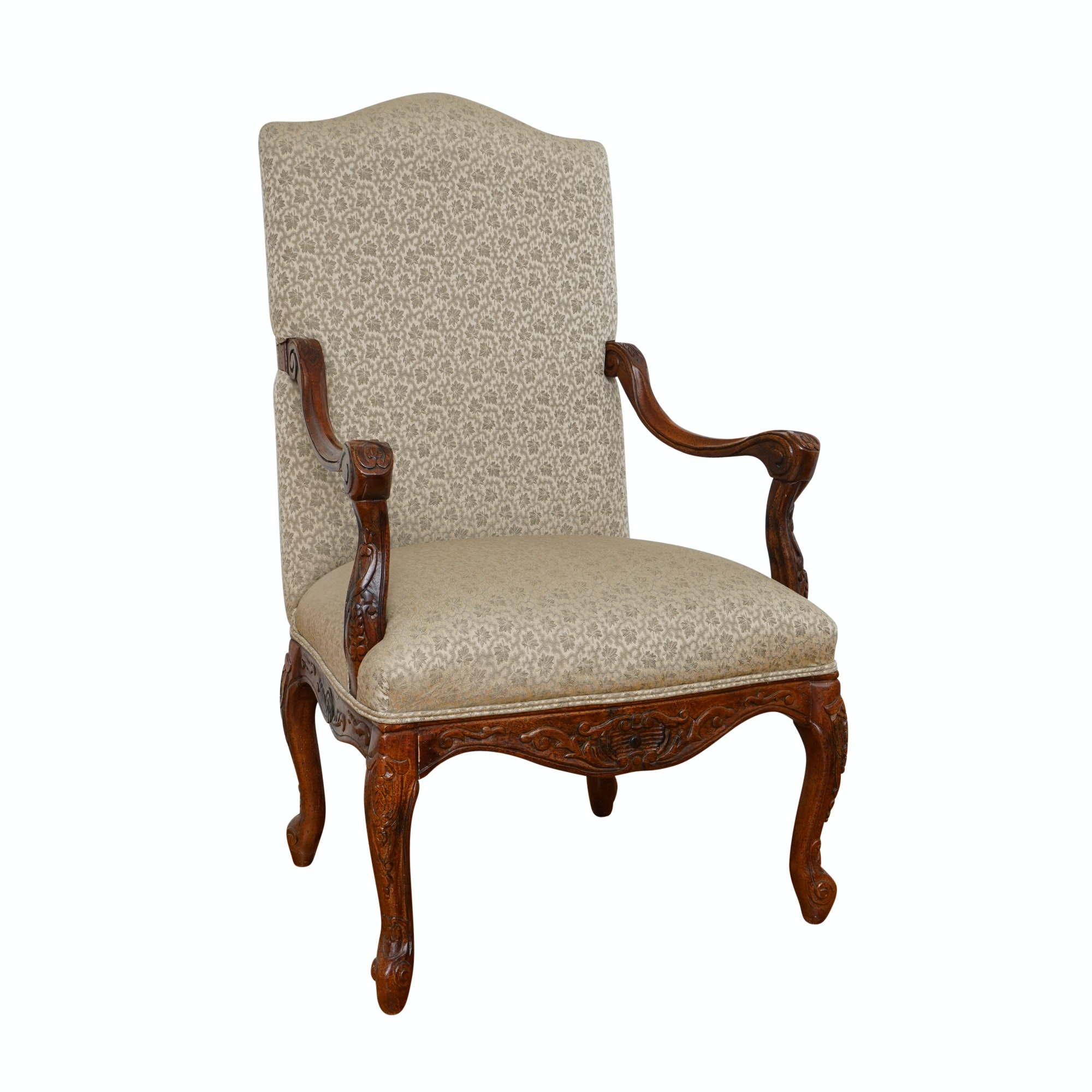 Contemporary French Provincial Style Upholstered Armchair