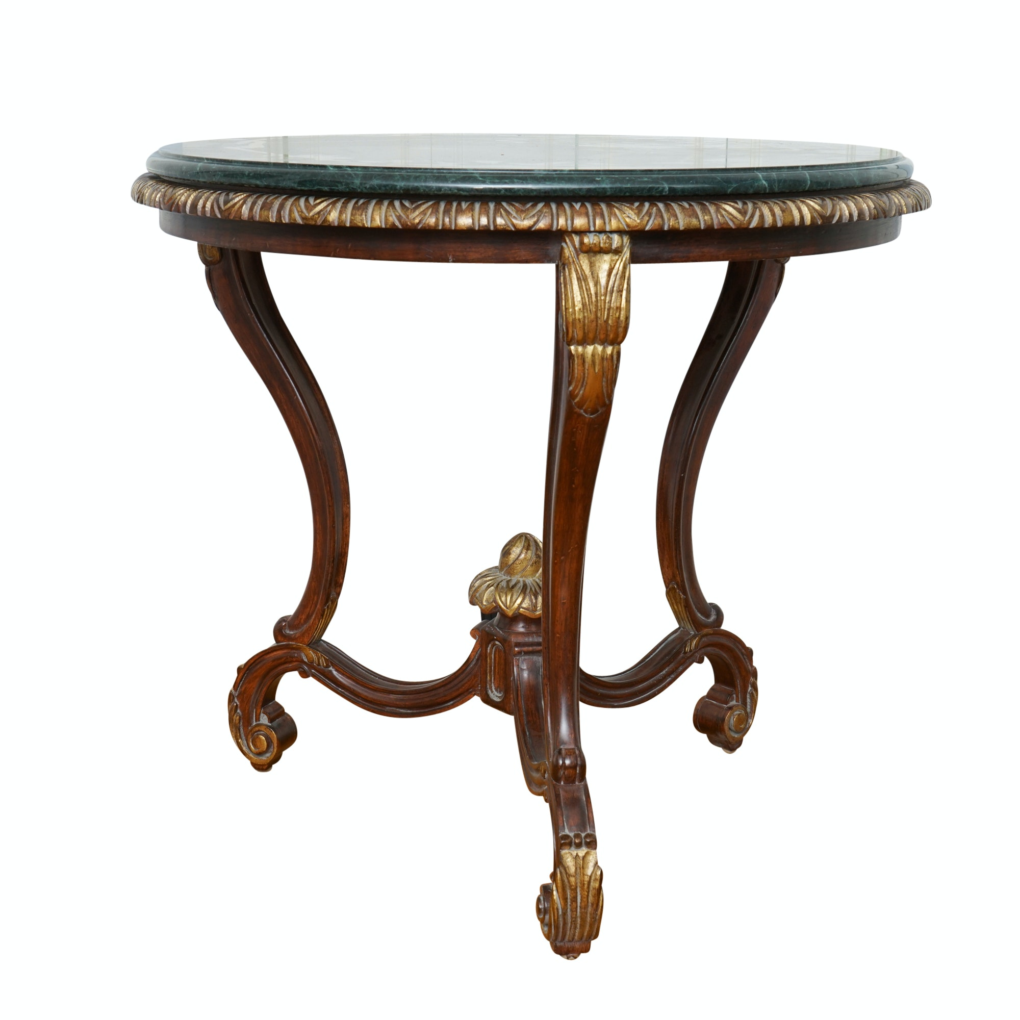 Contemporary Empire Style Green Marble Top Accent Table