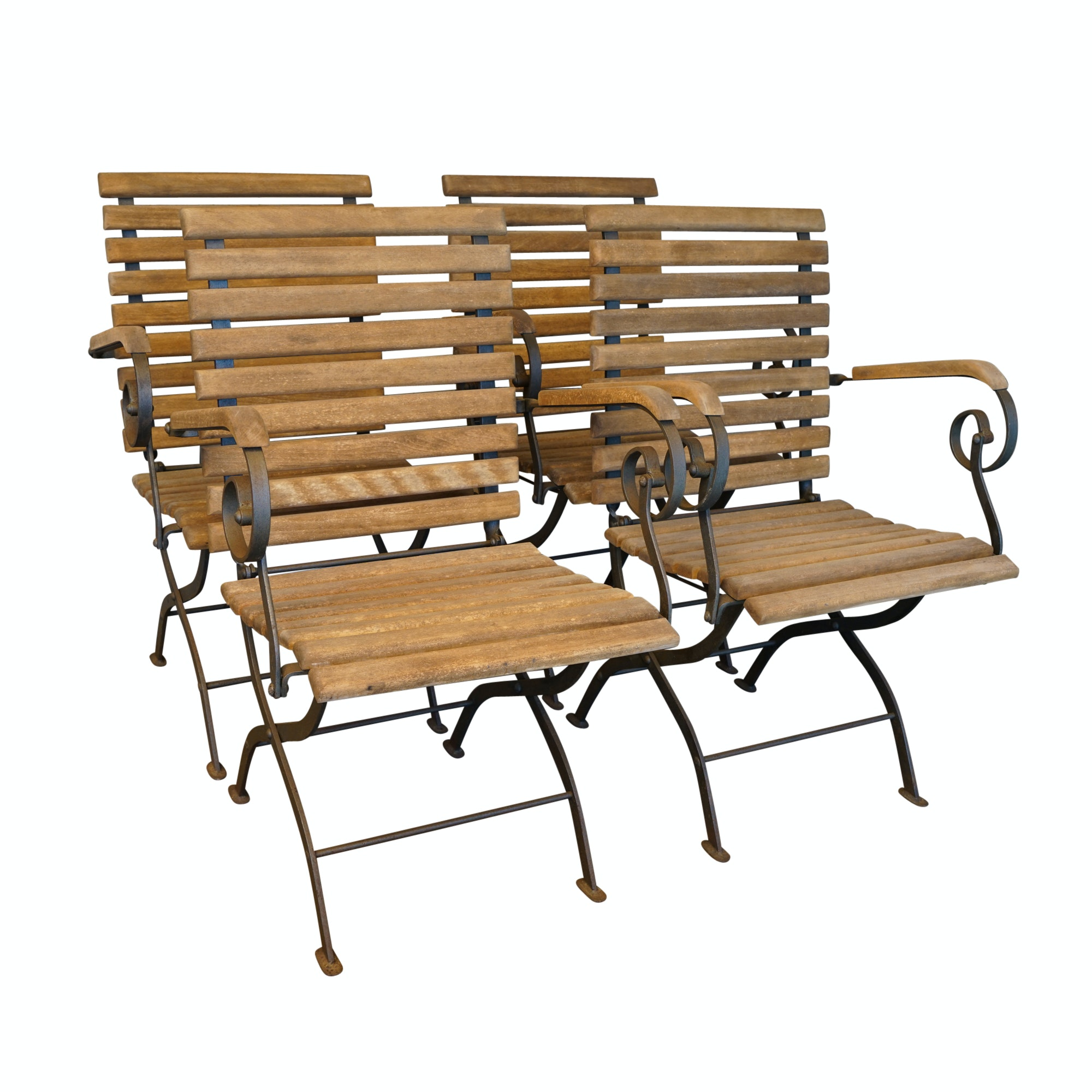 Set of Four Slat Back Patio Chairs