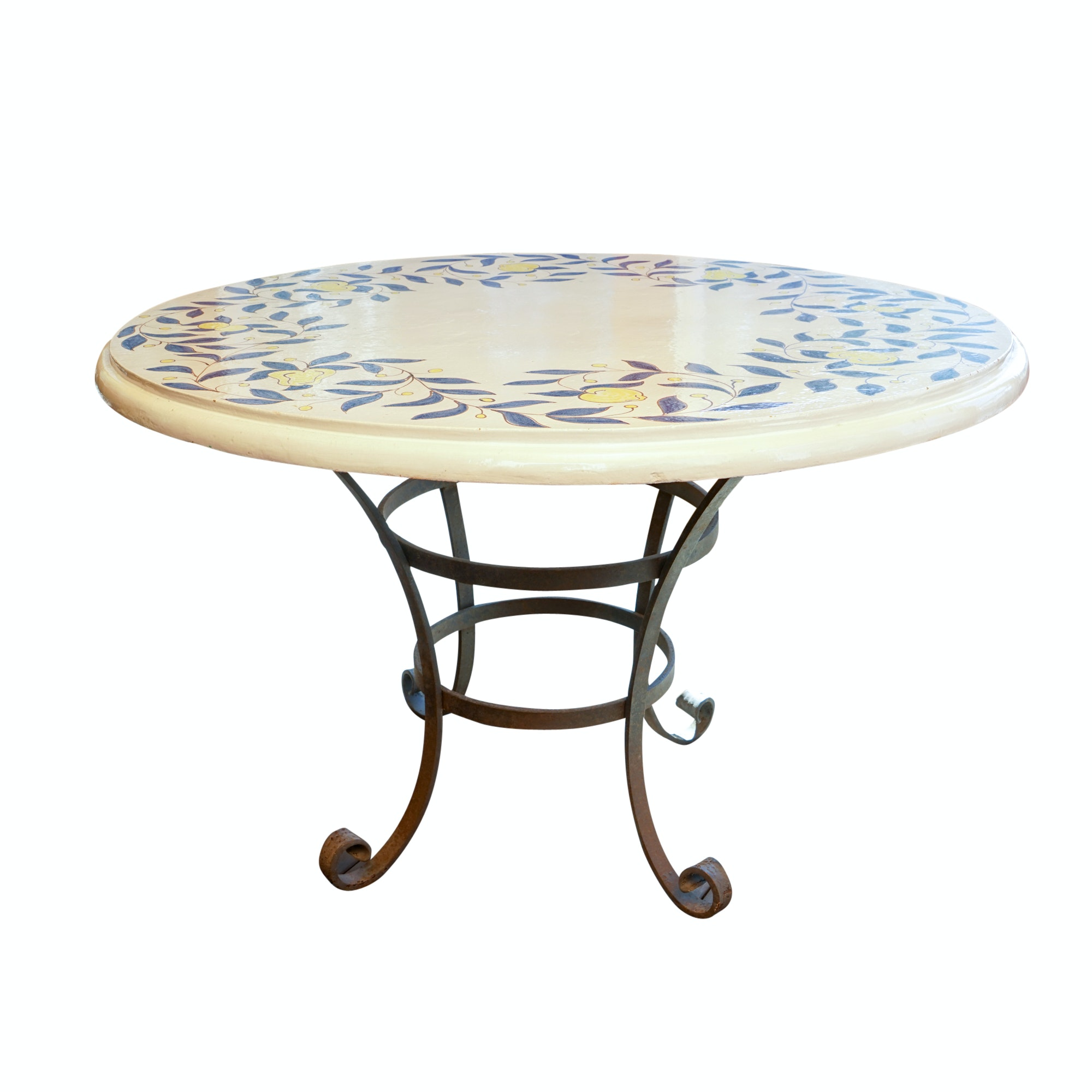 Ceramic Patio Table with Wrought Iron Base