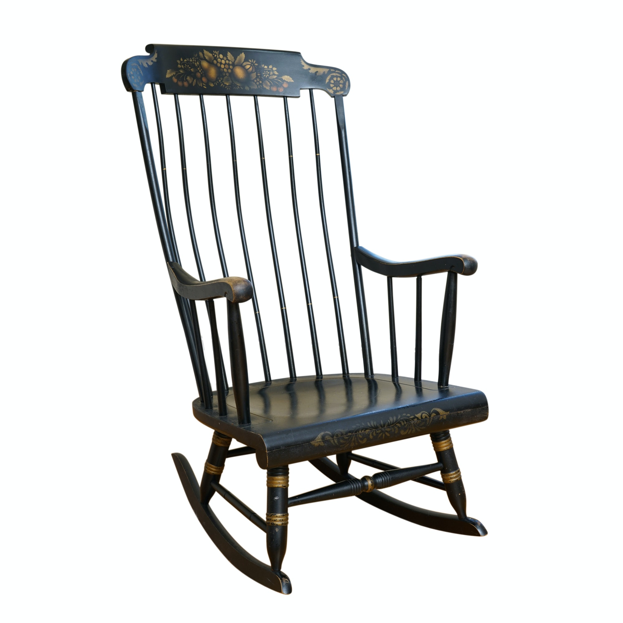 Vintage Hitchcock Style Painted and Stenciled Rocking Chair