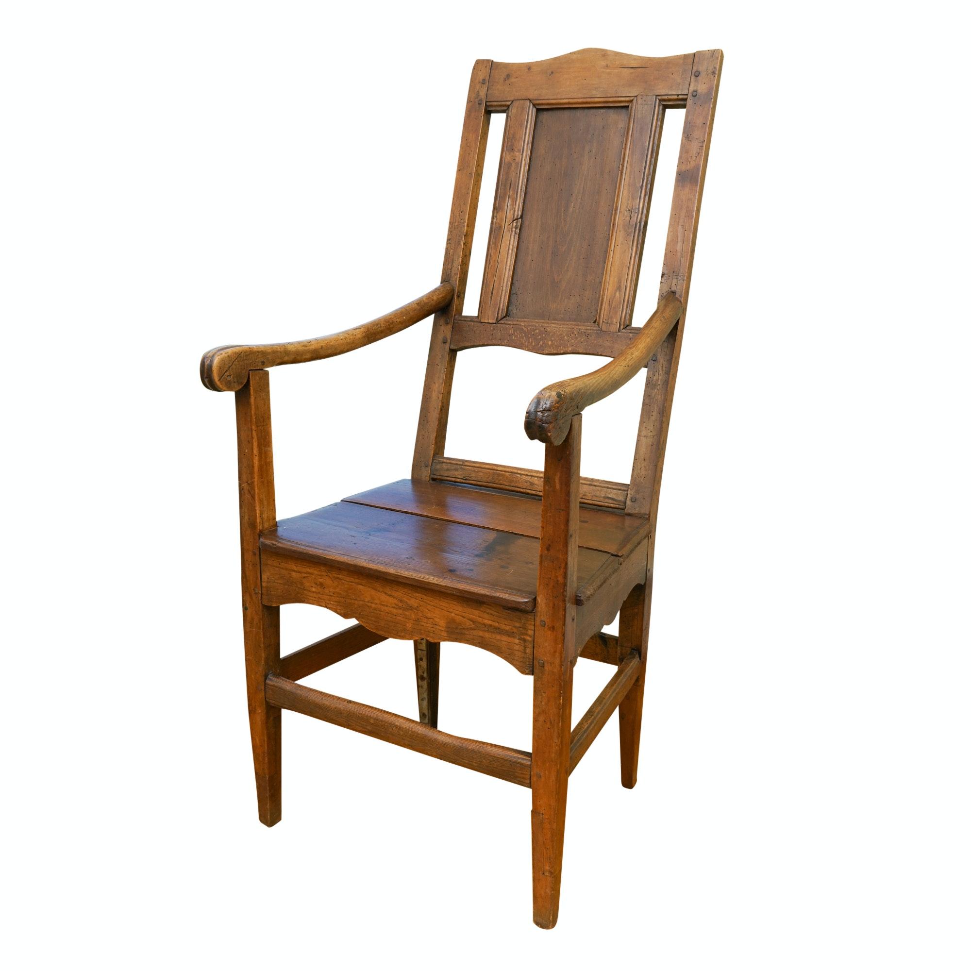 Antique Continental Walnut Armchair