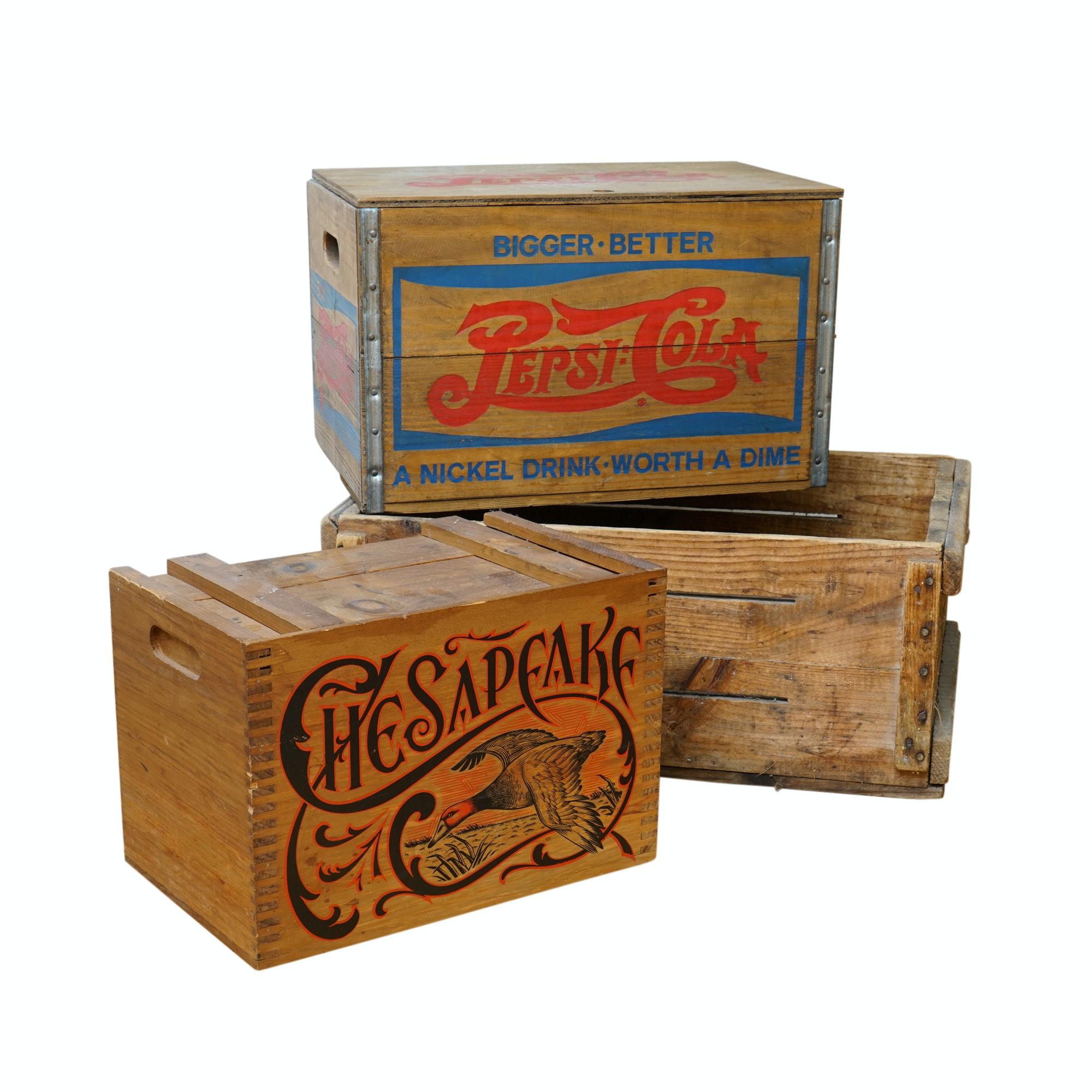 Vintage Branded Wooden Crates
