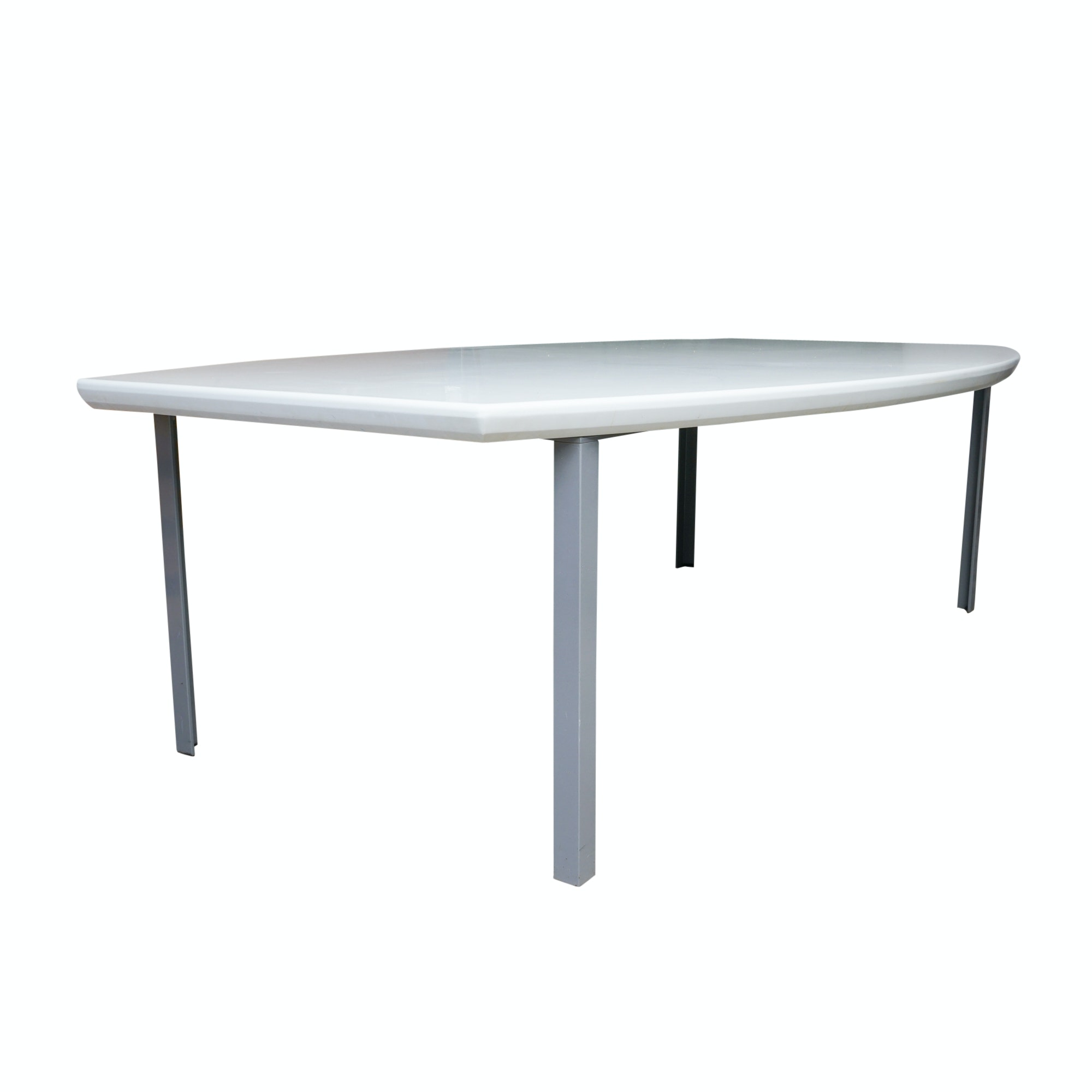 Modern White Marble Dining Table with Metal Base
