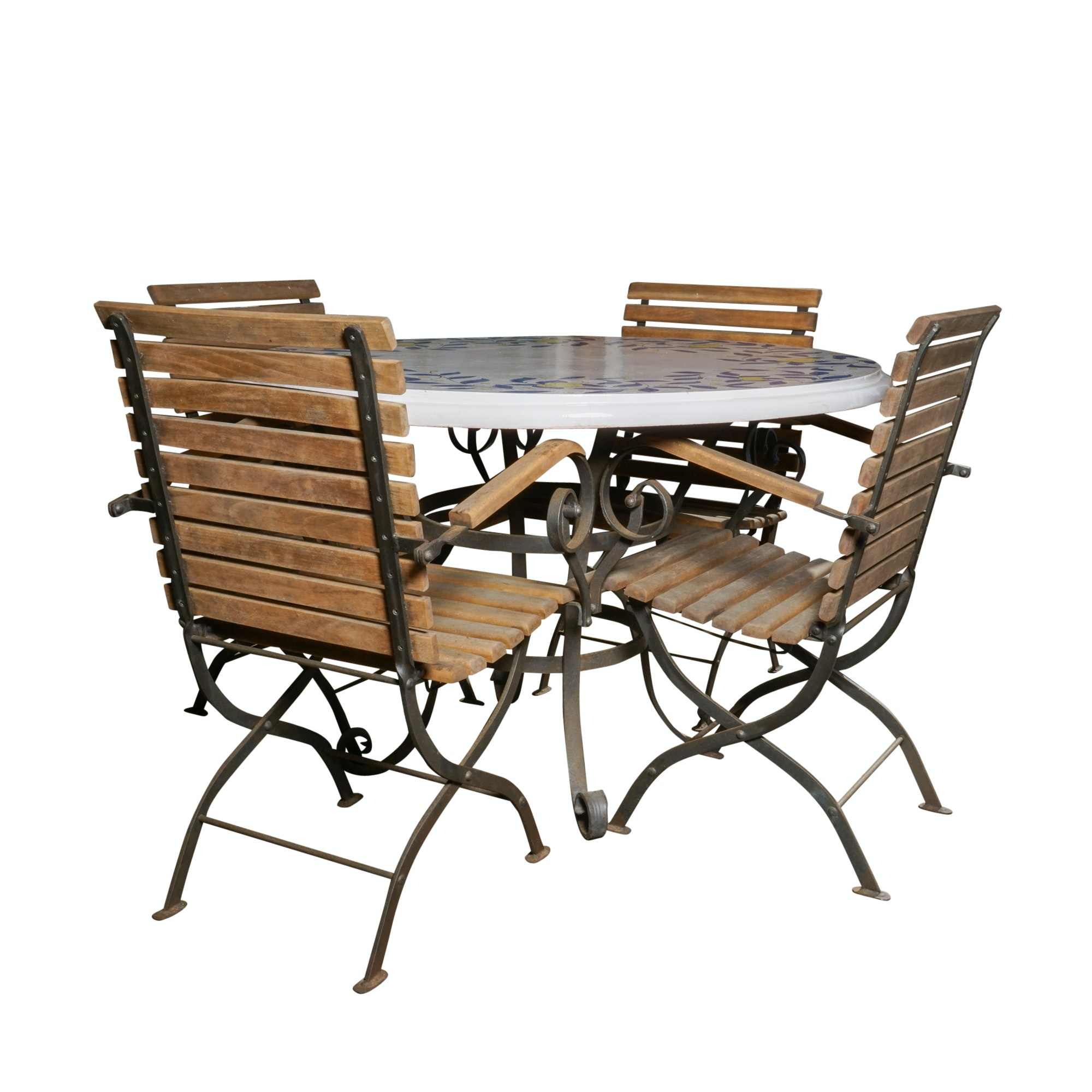 Ceramic Patio Table and Four Slat Back Chairs