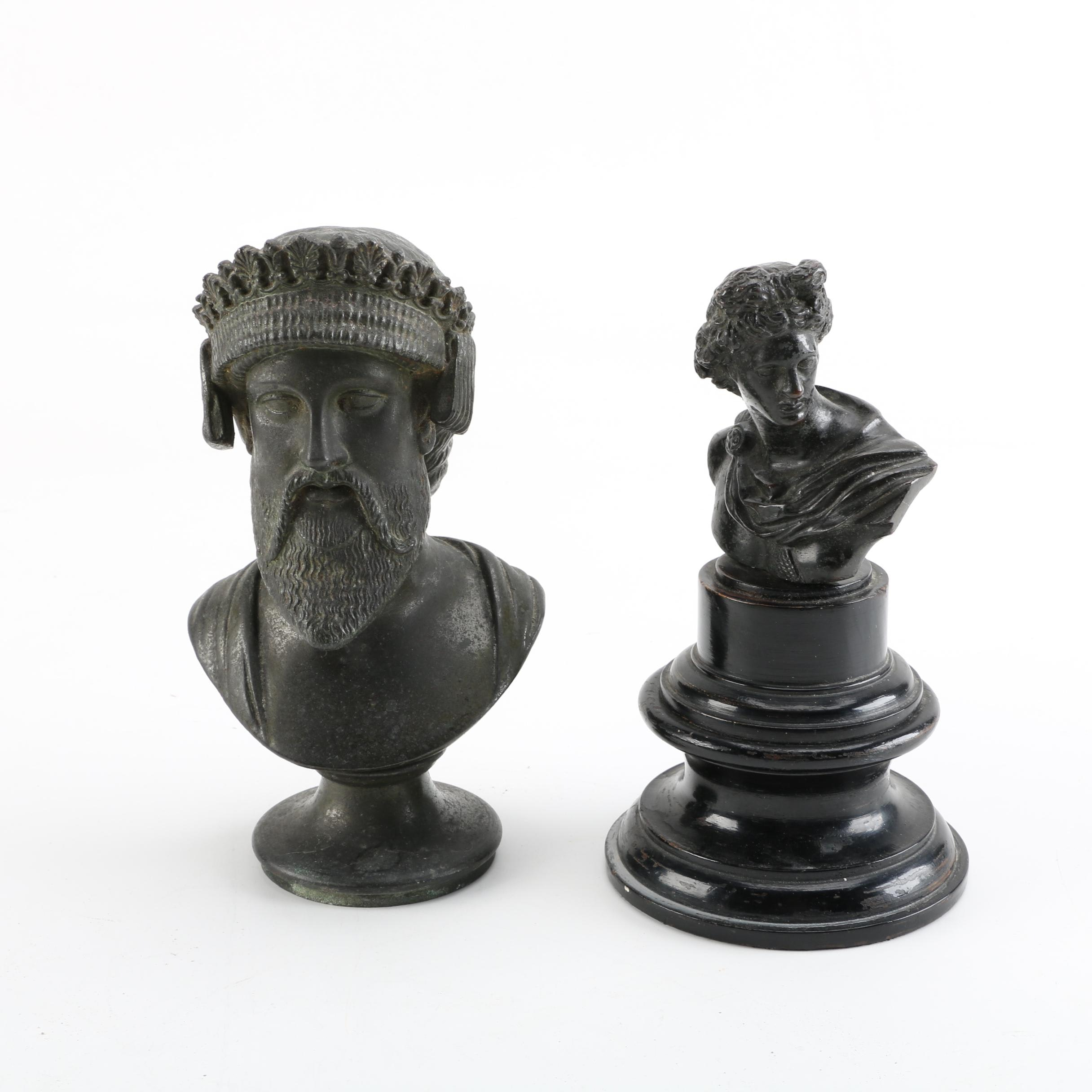 Cast Metal Sculptures After Ancient Greek Busts