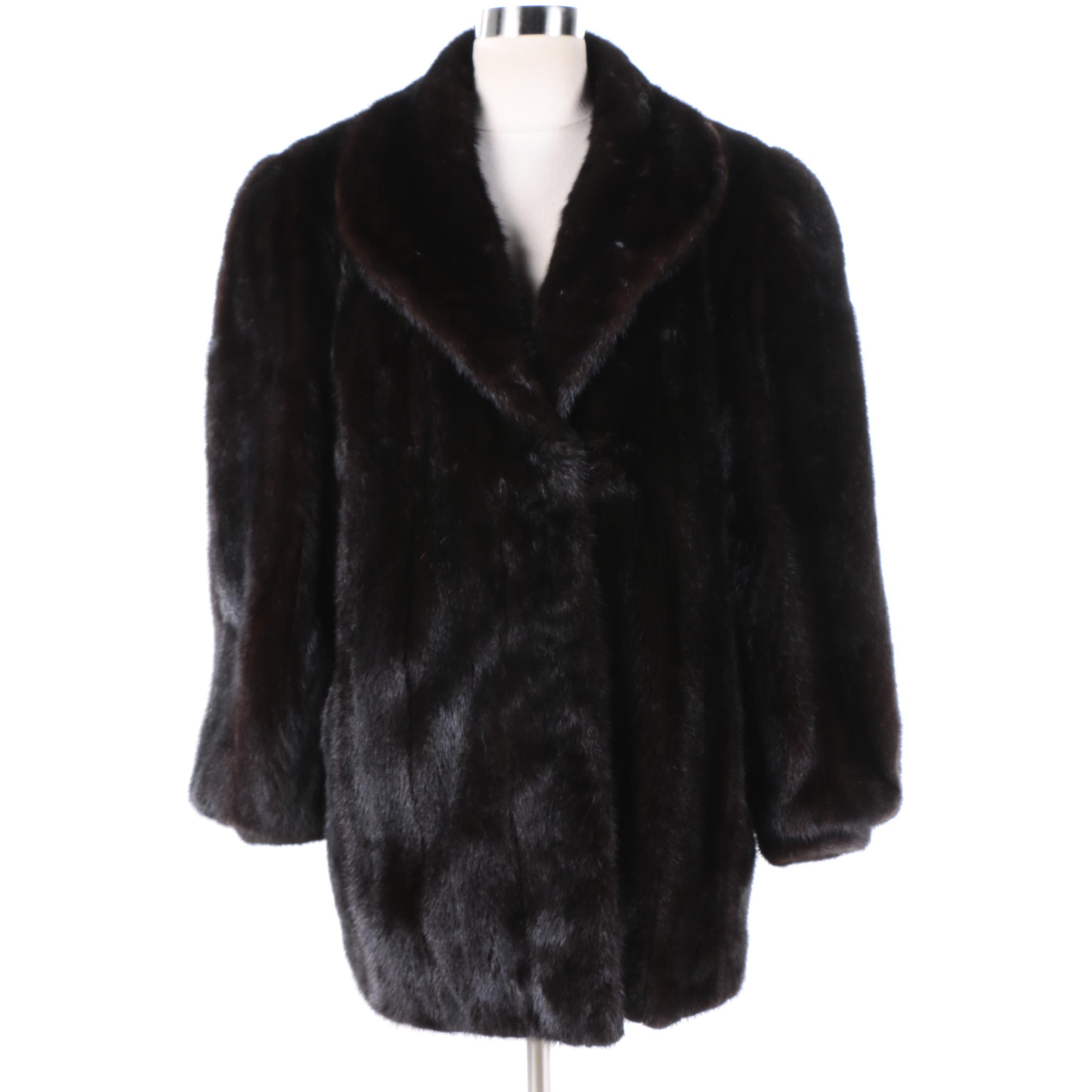 Women's Black Mink Fur Coat