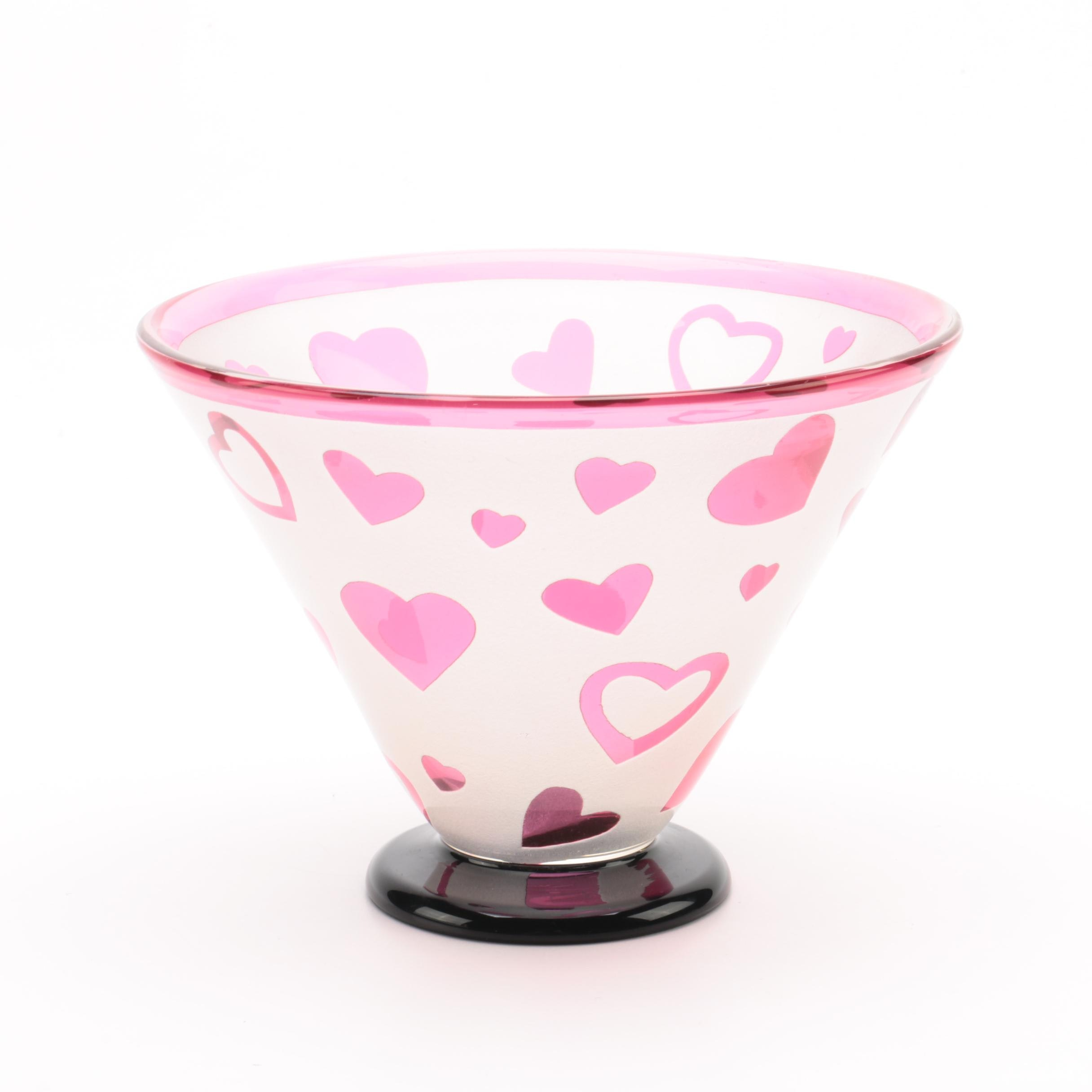 "Vintage Correia ""Ruby Hearts"" Limited Edition Art Glass Bowl"