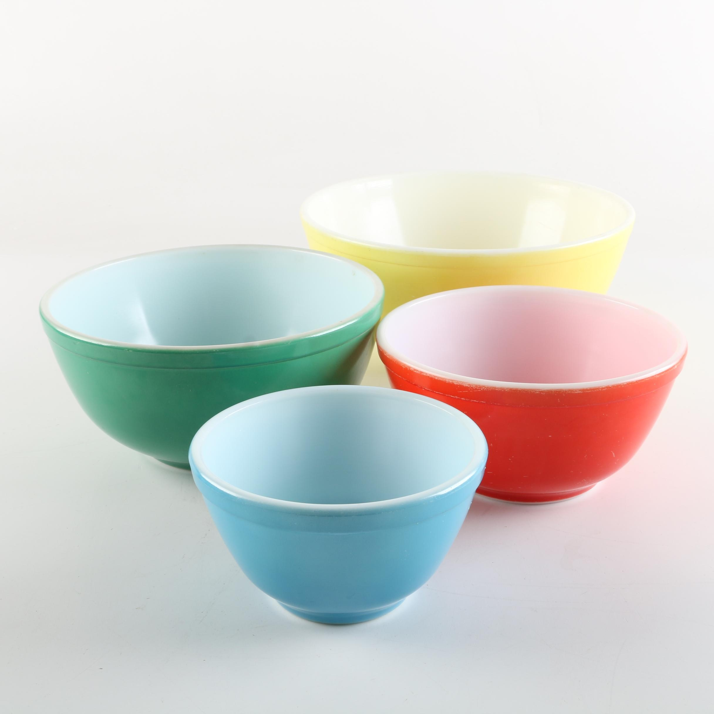 "Vintage Pyrex ""Primary Colors"" Mixing Bowls"