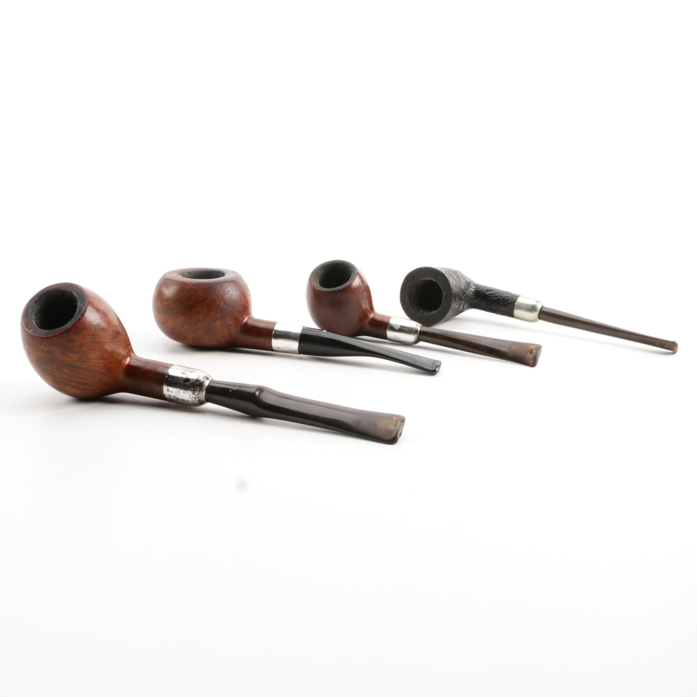 Comoy's De Luxe Pipe with Other Briar Wood and Silver Pipes