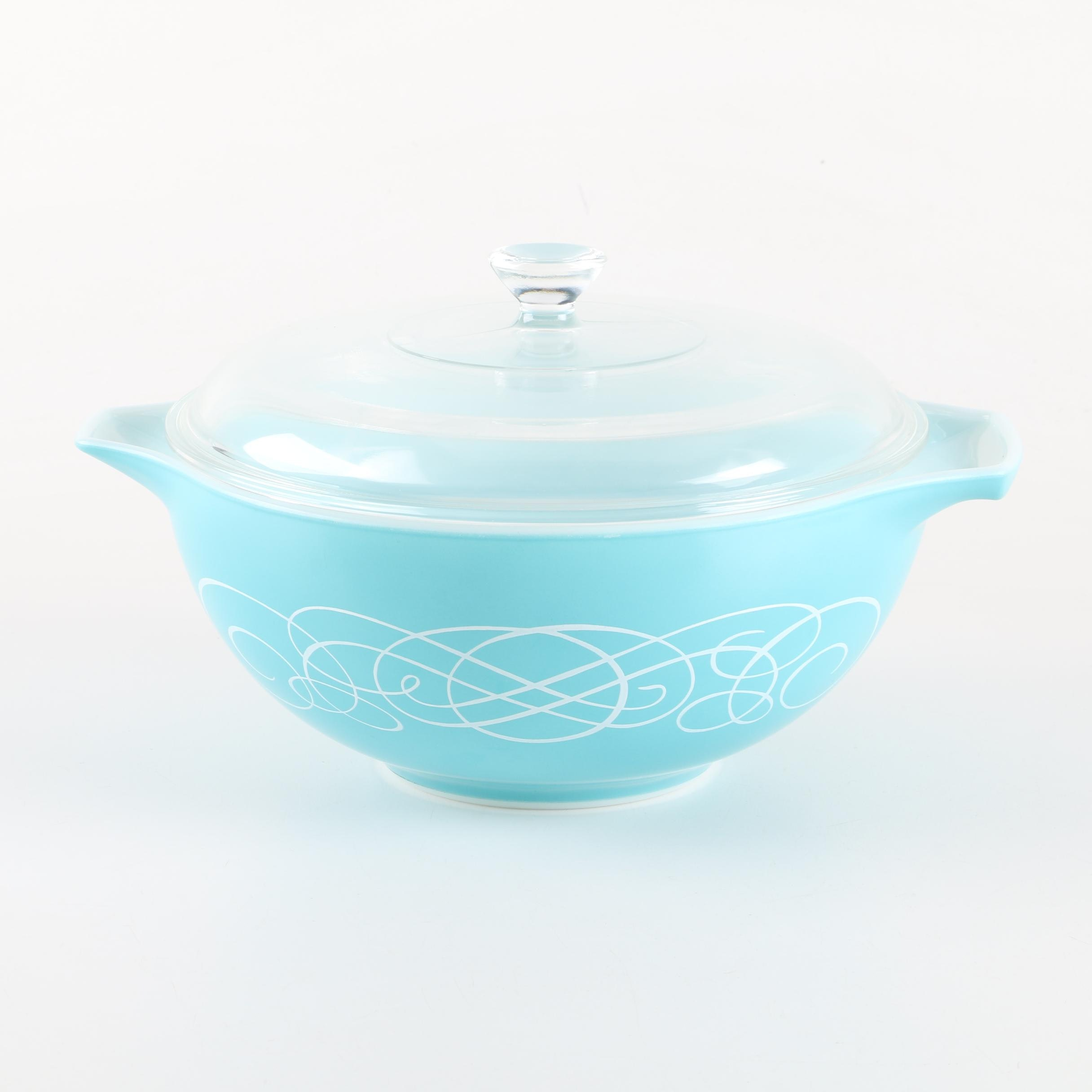 "Pyrex ""Turquoise Scroll"" Lidded Bowl, Circa 1959"