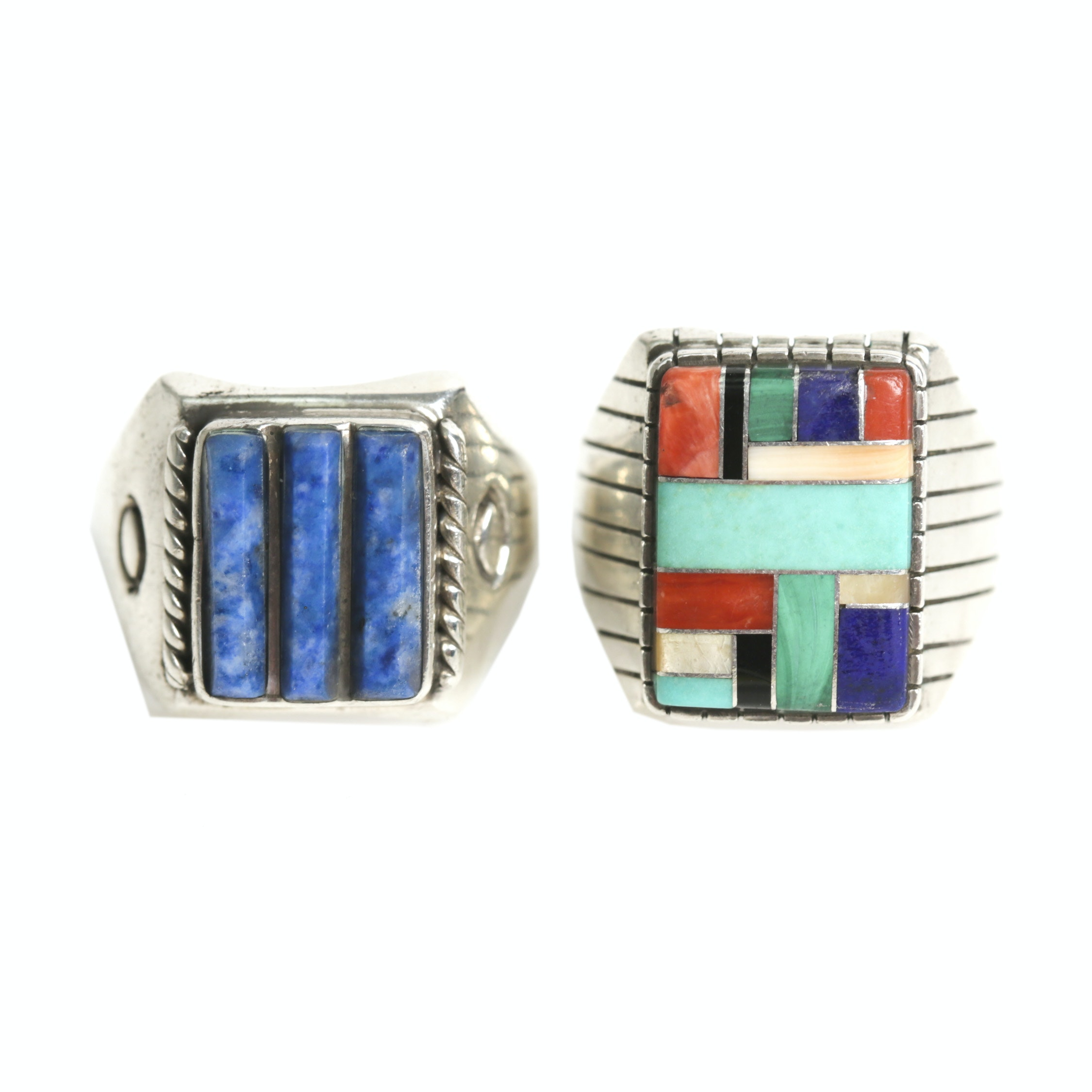 Sterling Silver Multi-Stone Ring and 900 Silver Lapis Lazuli Ring