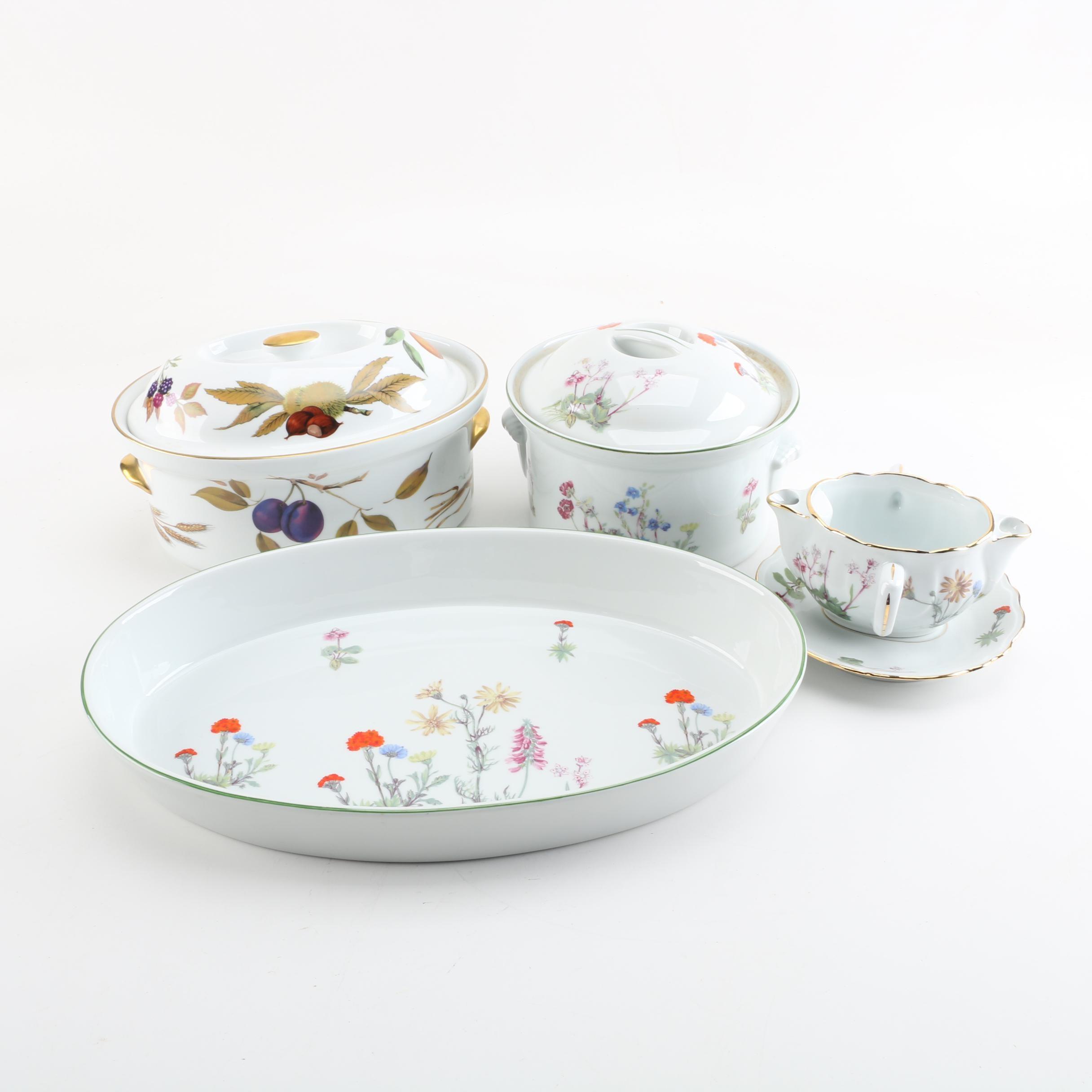 """Vintage Porcelain Serveware Featuring Royal Worcester """"Evesham"""""""