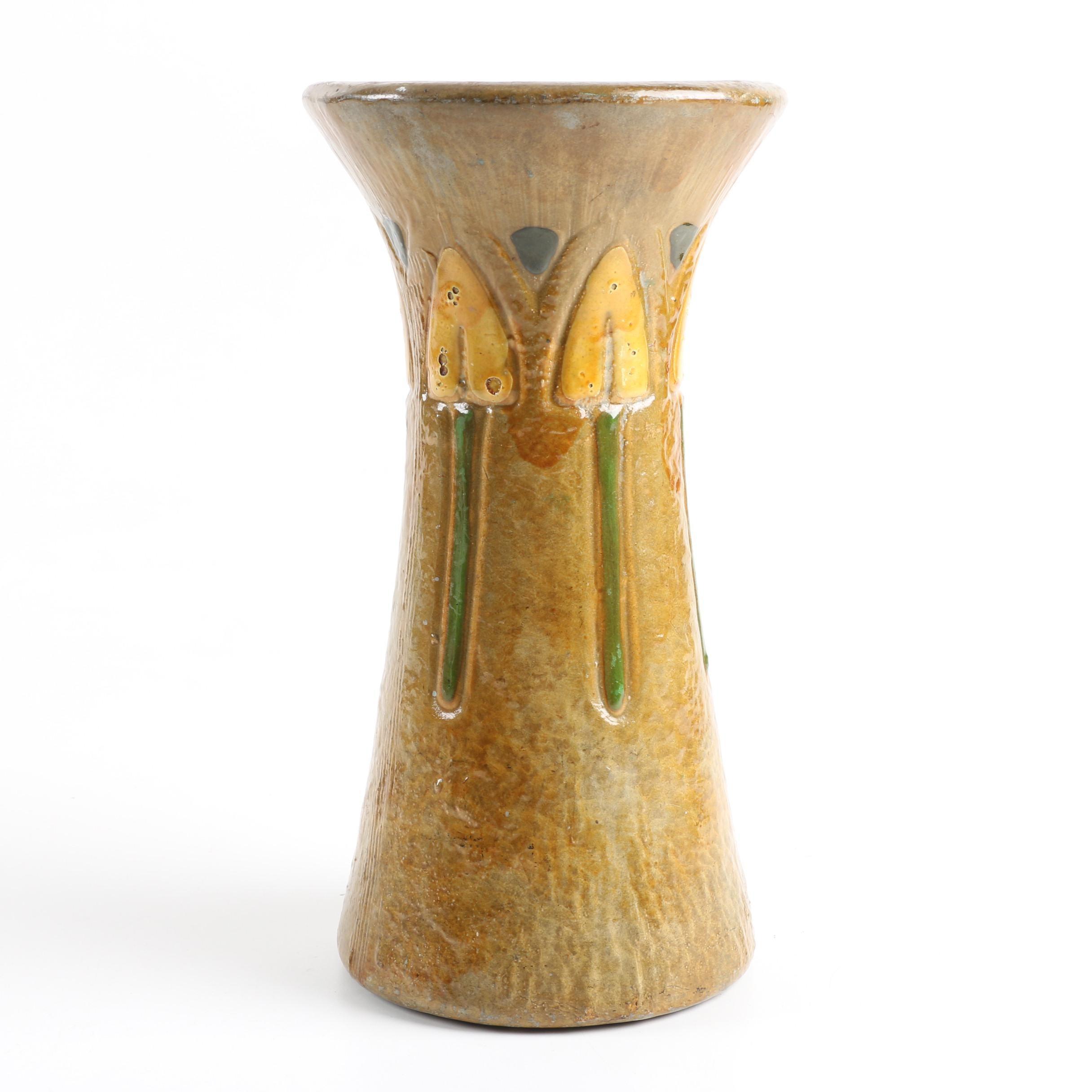 """Arts and Crafts Roseville """"Mostique"""" Vase"""