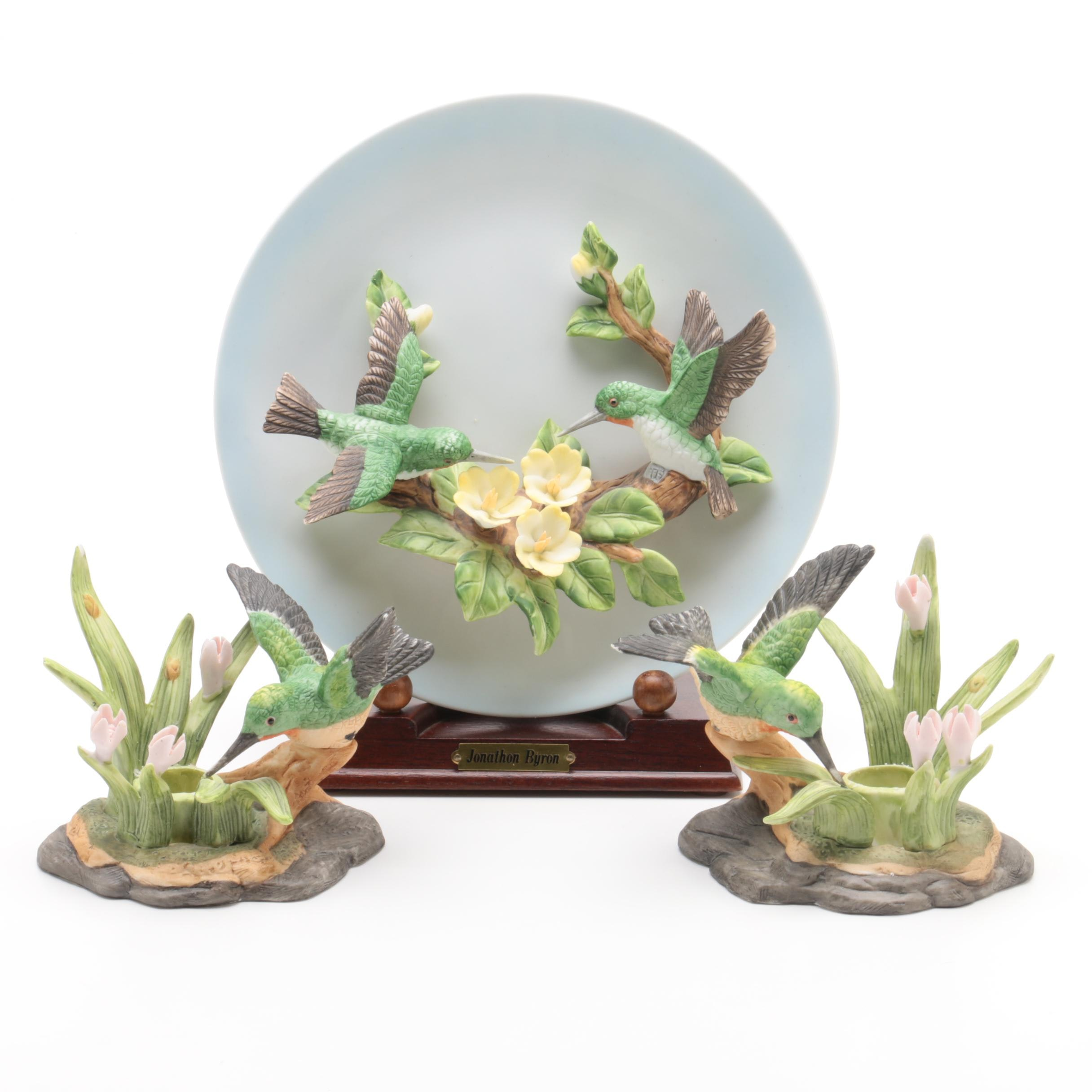 Jonathon Byron Collector's Plate and Hummingbird Figural Candleholders