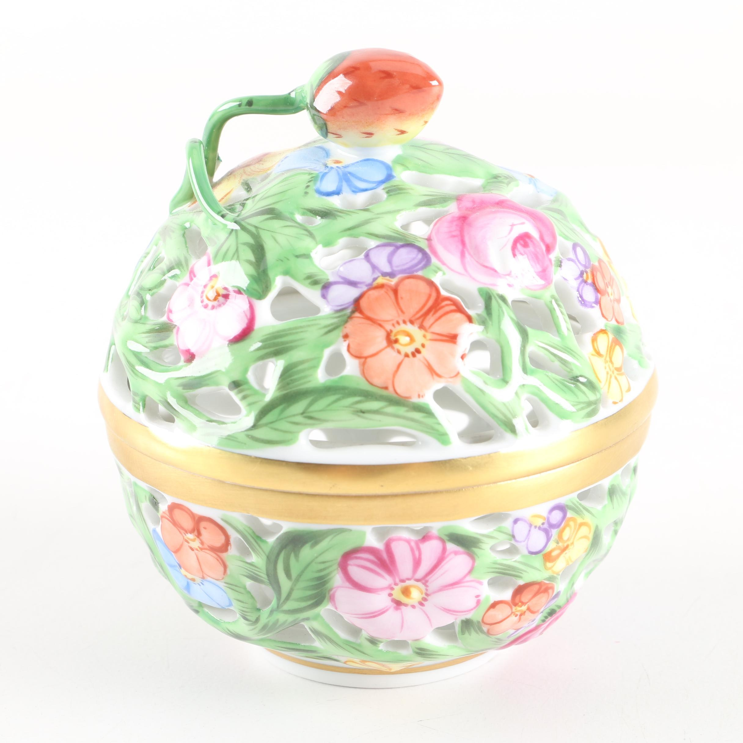 Herend Hand-Painted Reticulated Porcelain Trinket Box