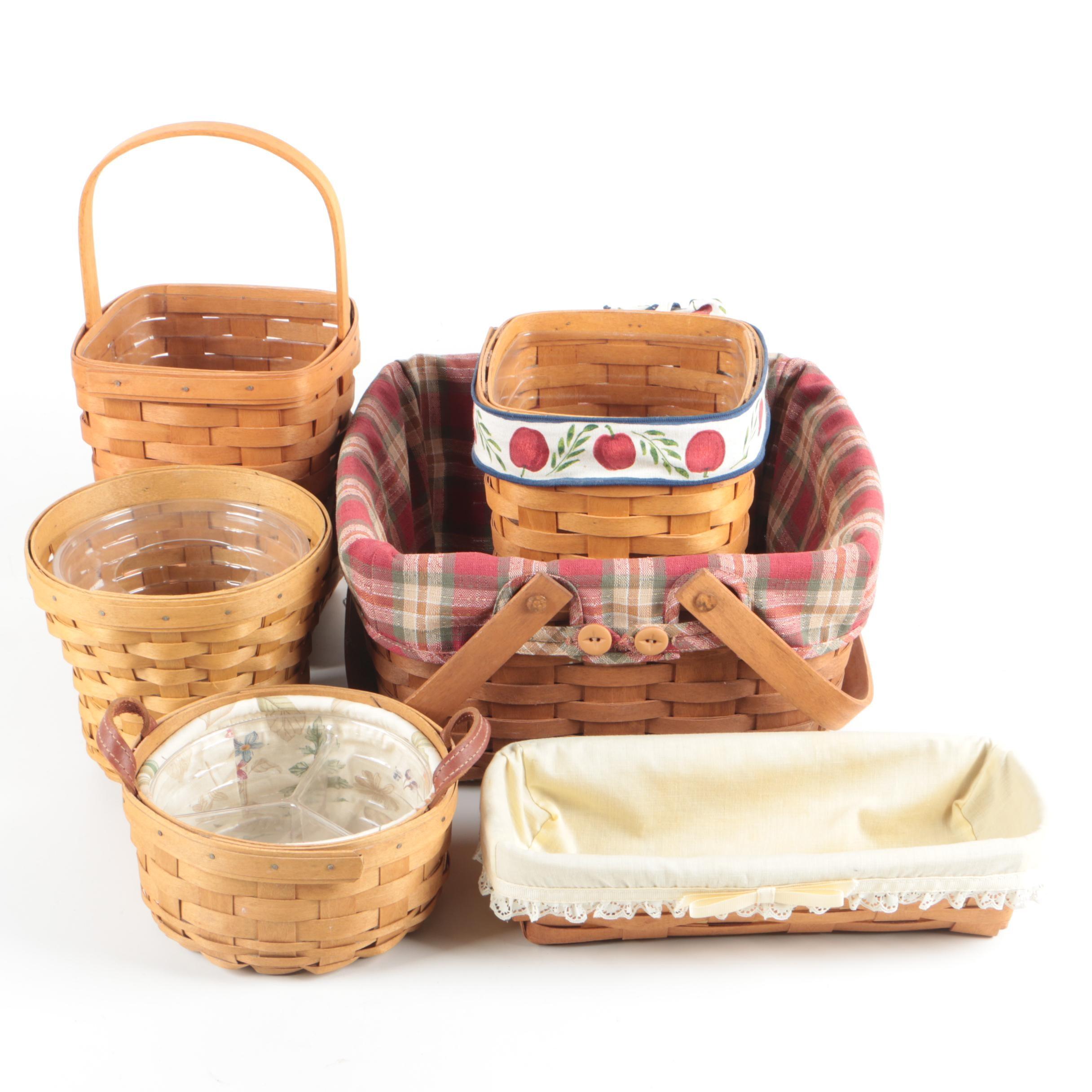 Longaberger Handwoven Baskets including Liners