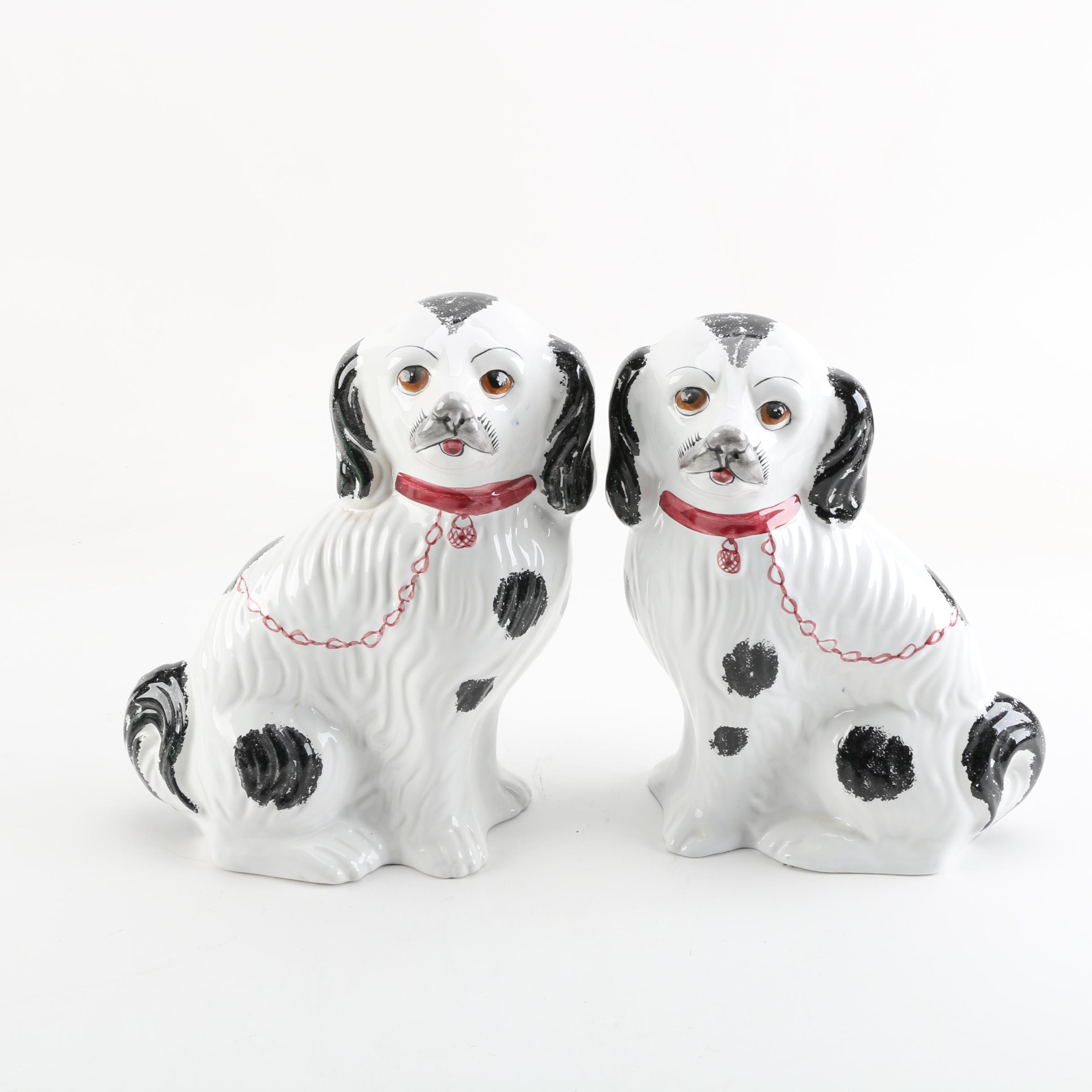 Hand-Painted Portuguese Staffordshire-Style Ceramic Dog Figurines